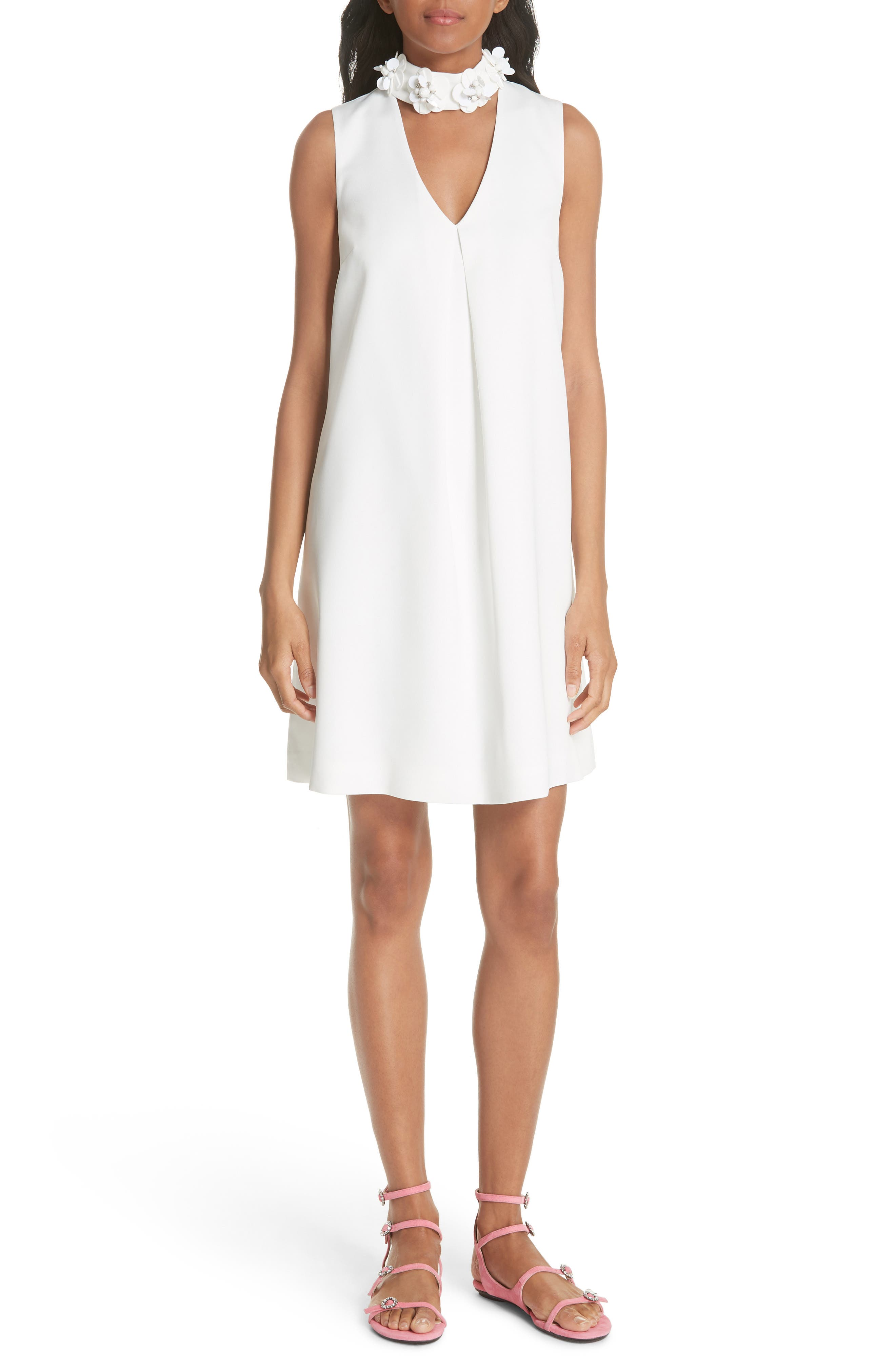 Embellished Neck A-Line Tunic Dress,                             Main thumbnail 1, color,                             White