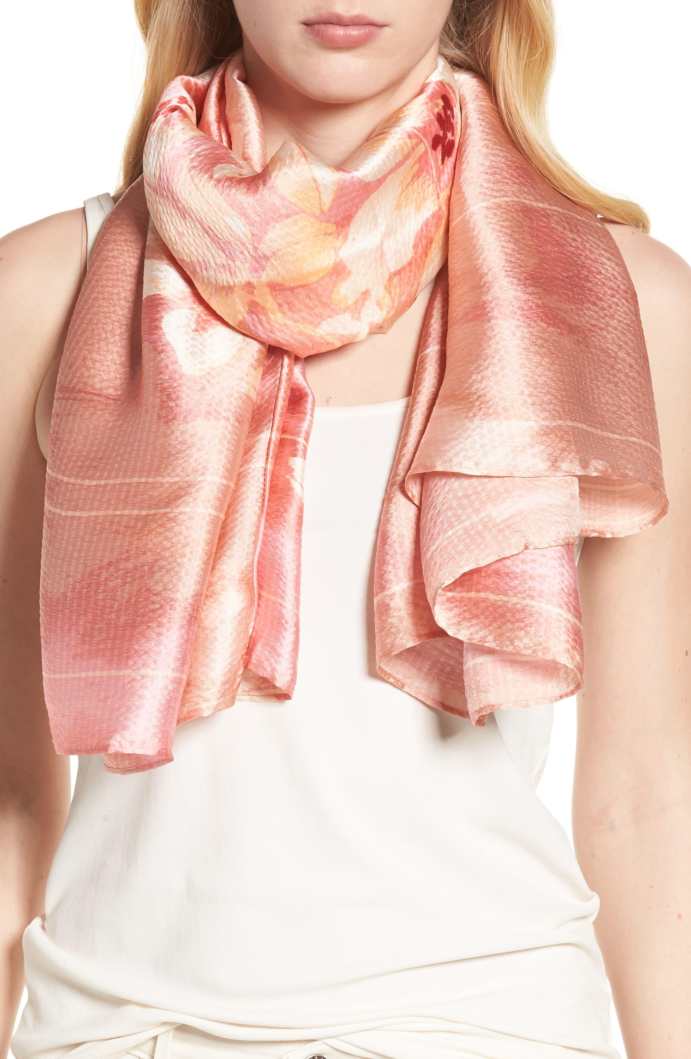 Silk Shrug Kimono,                             Alternate thumbnail 4, color,                             Pink Jardin Secret