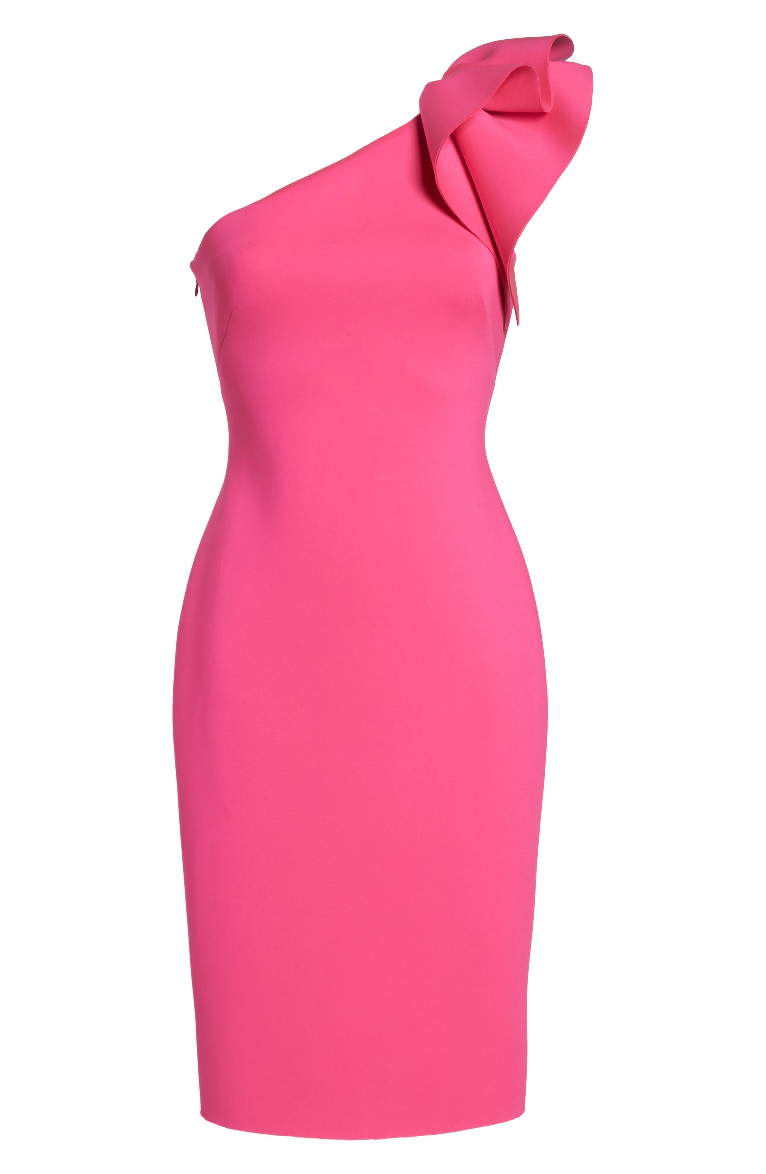 One-Shoulder Ruffle Sheath Dress,                             Alternate thumbnail 7, color,                             Hot Pink