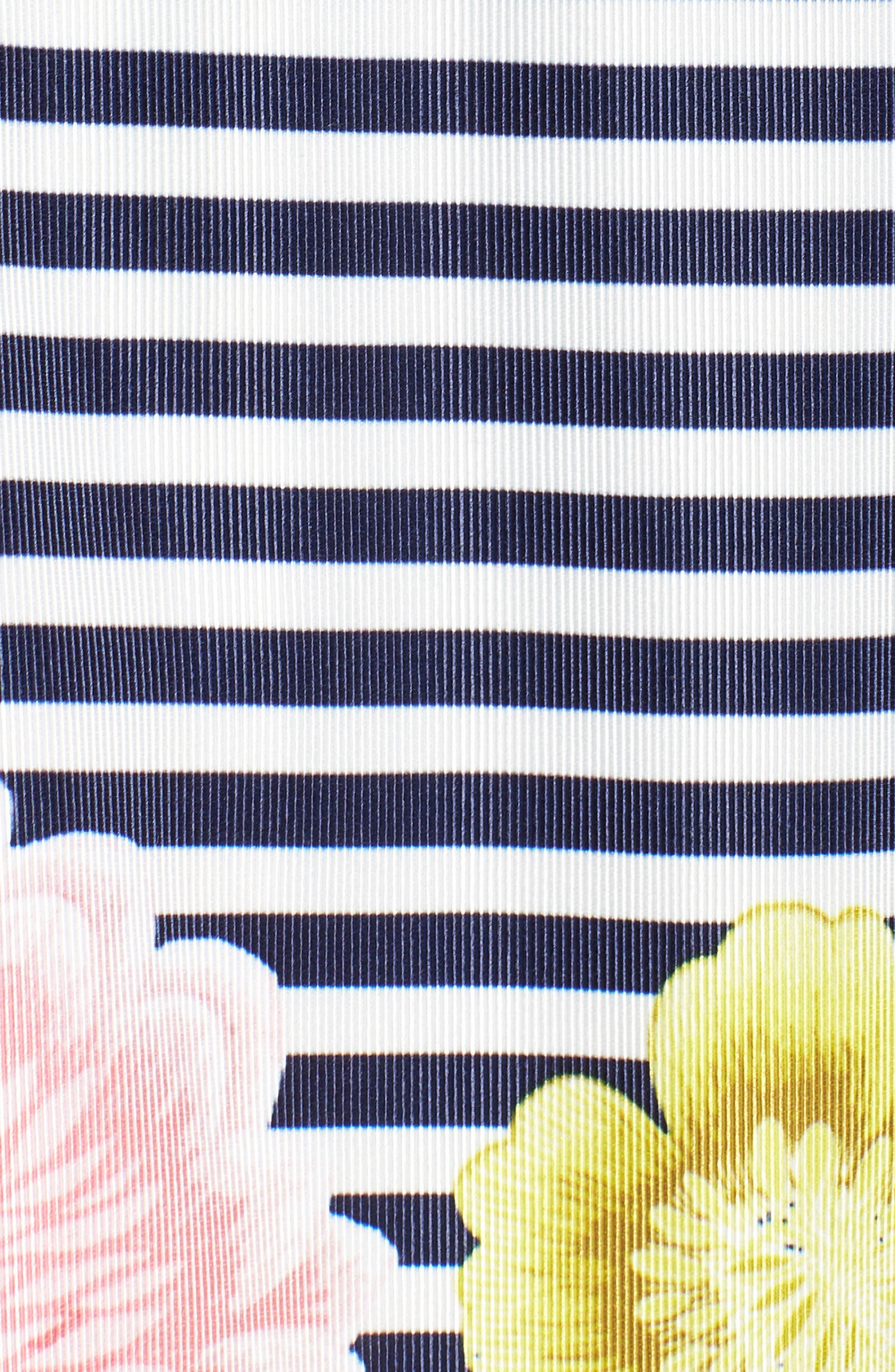 Floral & Stripe A-Line Skirt,                             Alternate thumbnail 6, color,                             Navy