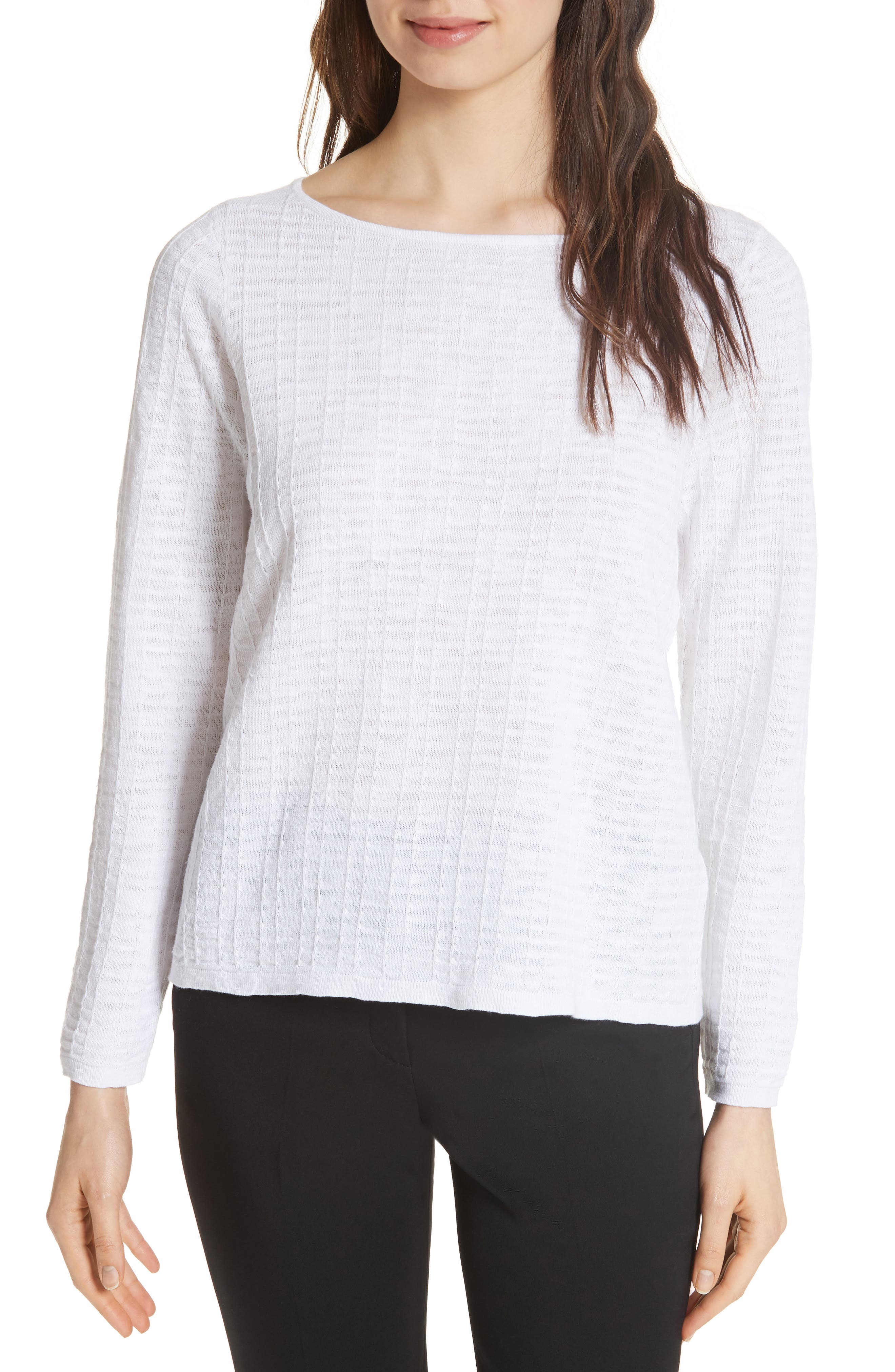 Eileen Fisher Organic Linen & Cotton Sweater (Regular & Petite)