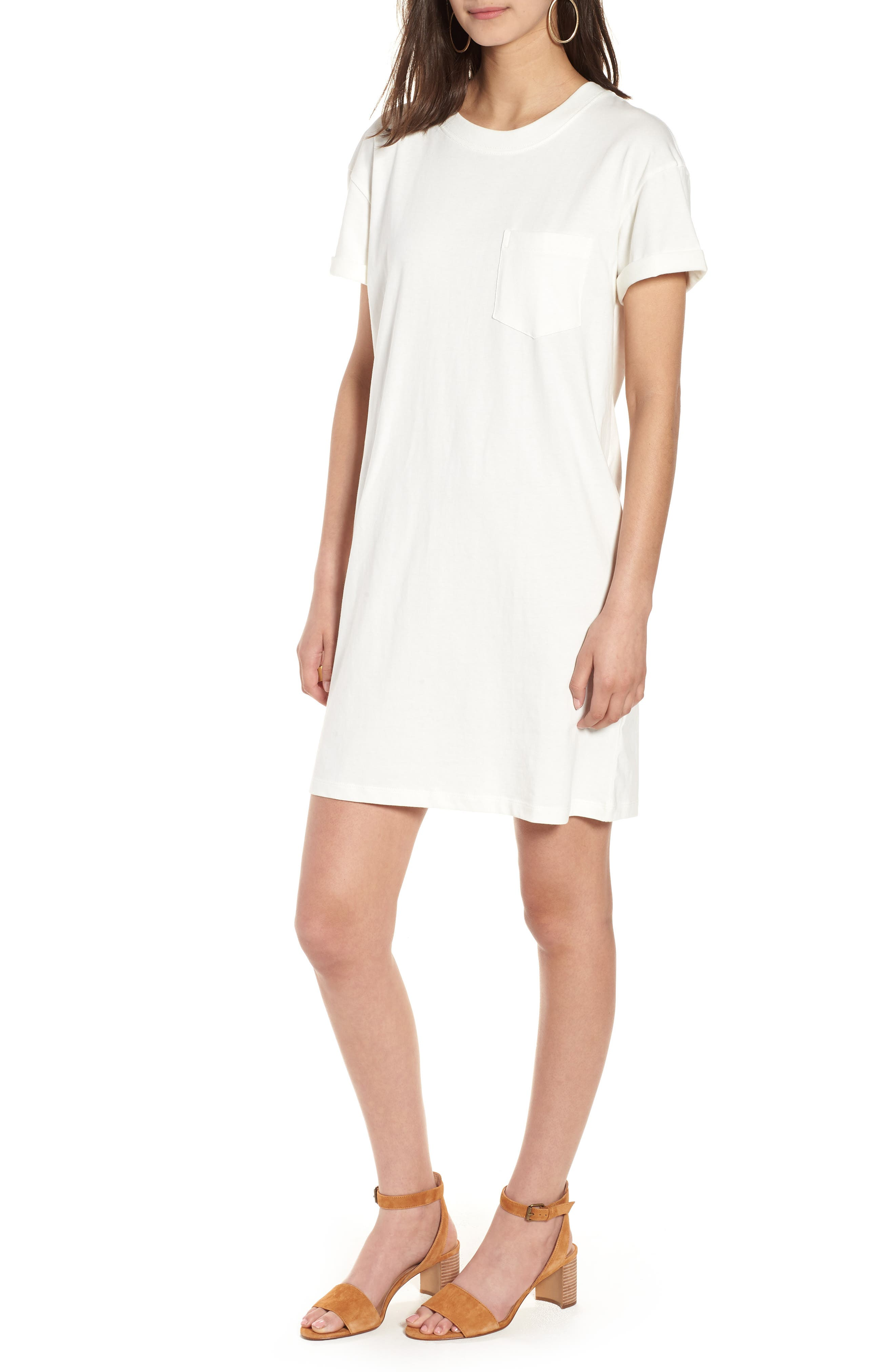 Pocket T-Shirt Dress,                             Main thumbnail 1, color,                             Bright Ivory