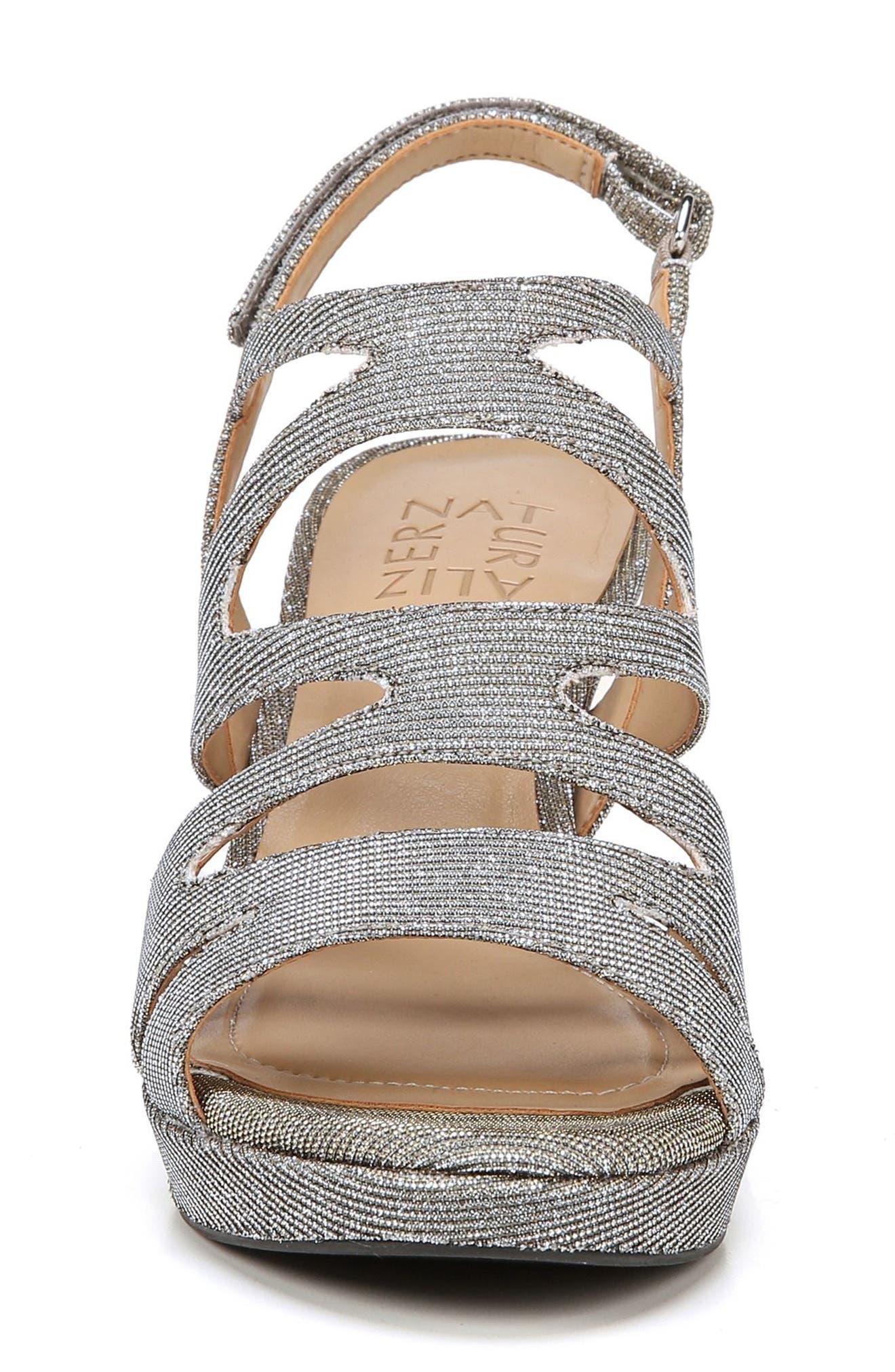 'Pressley' Slingback Platform Sandal,                             Alternate thumbnail 4, color,                             Alloy Sparkle Fabric
