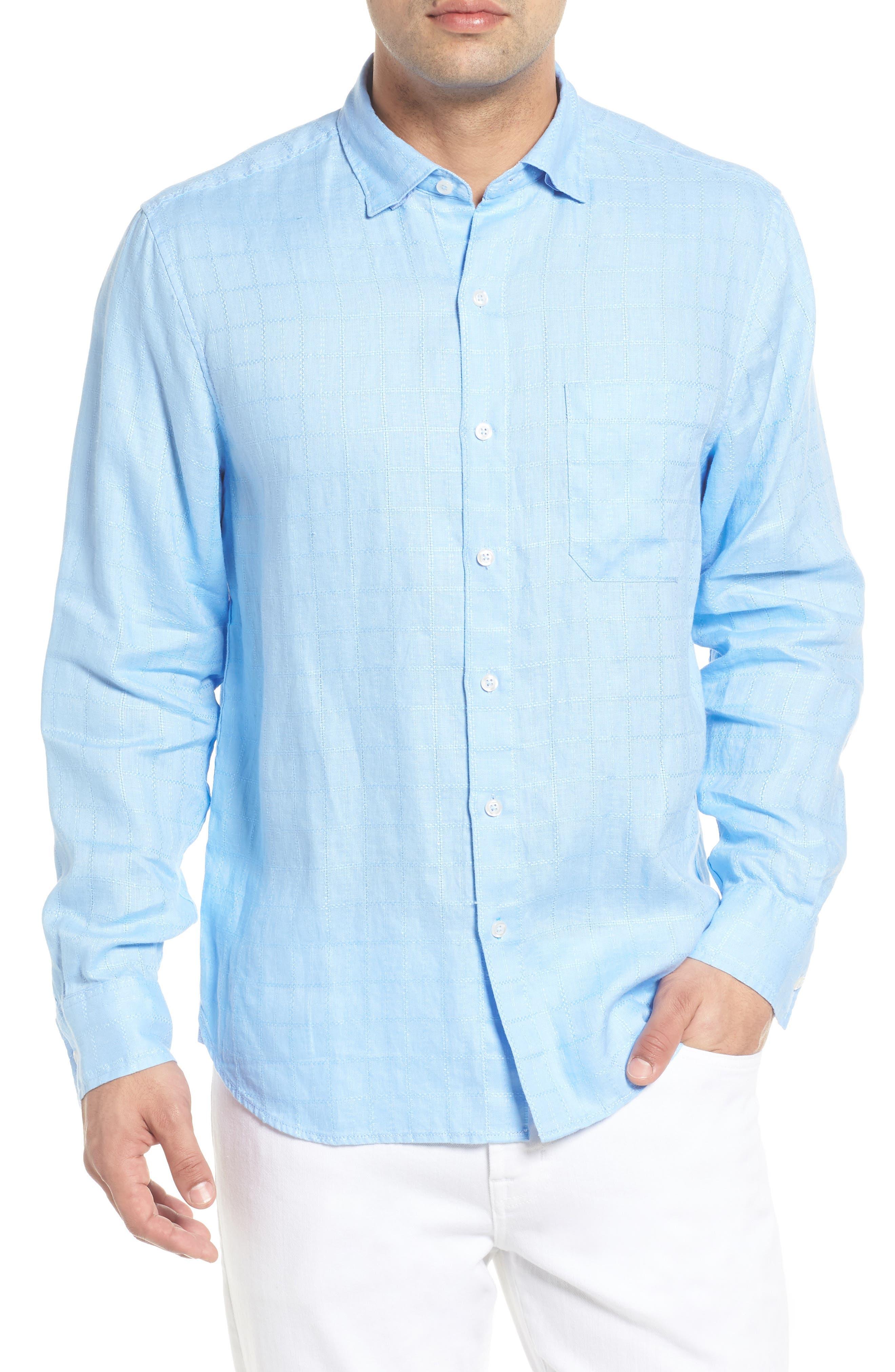 Costa Sera Linen Sport Shirt,                         Main,                         color, Light Sky