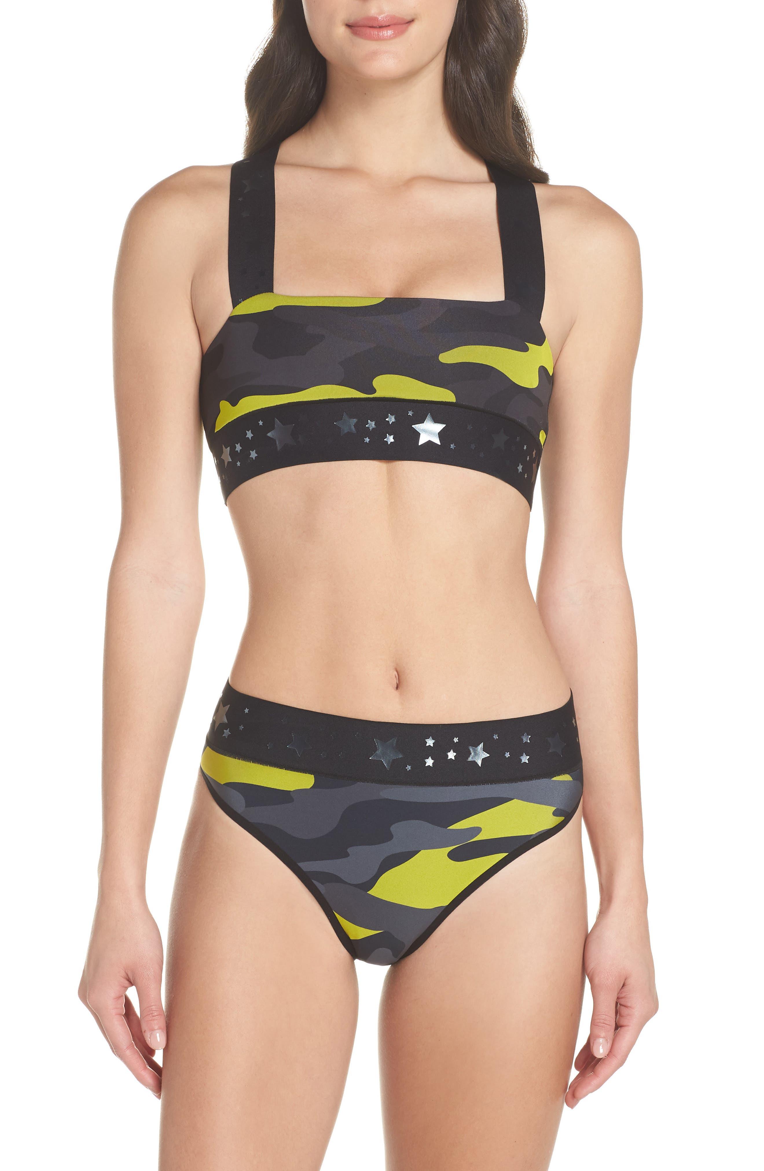 Argon Camo High Waist Bikini Bottoms,                             Alternate thumbnail 7, color,                             Chartreuse Gunmetal