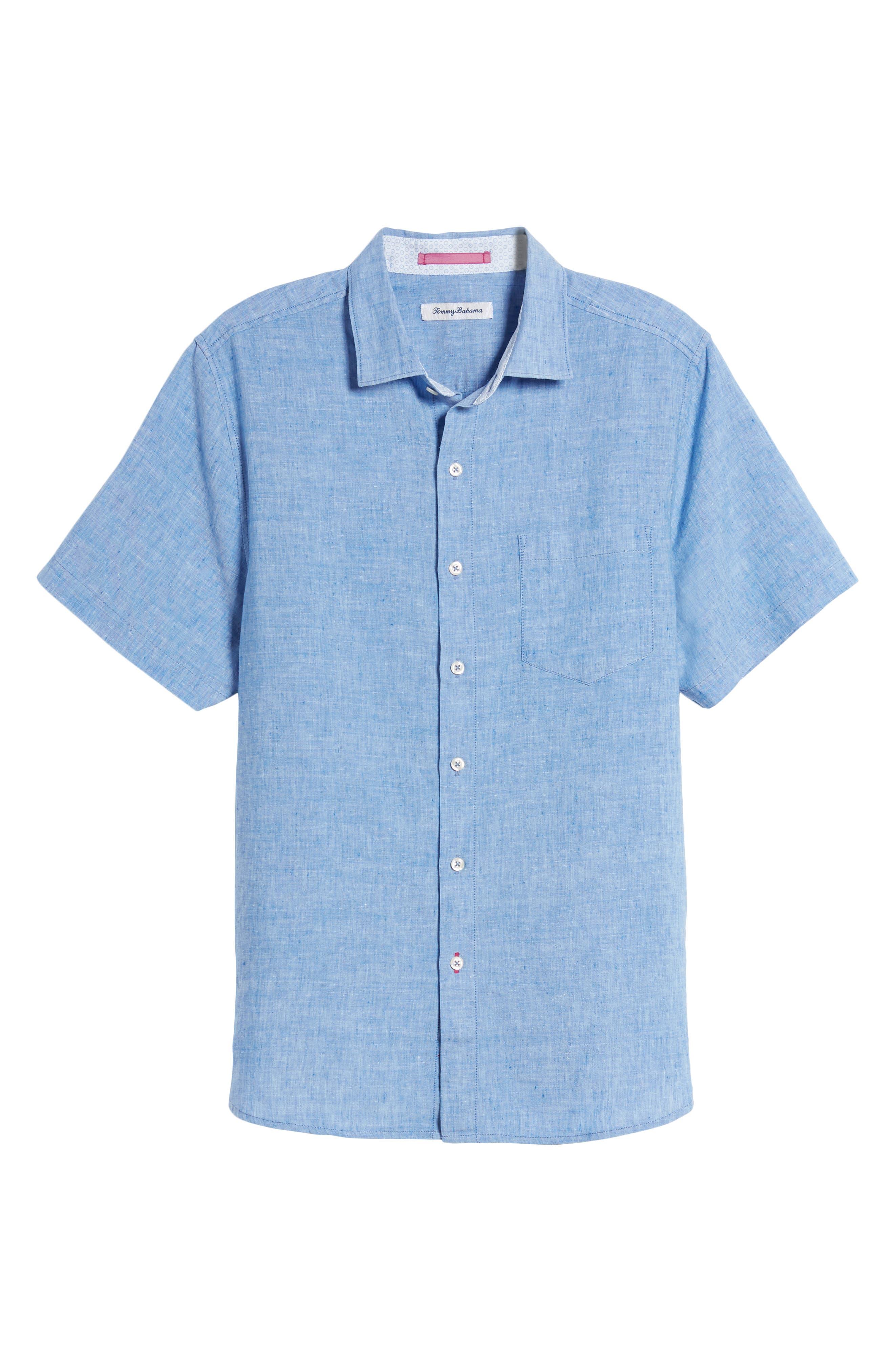 Lanai Tides Linen Blend Sport Shirt,                             Alternate thumbnail 6, color,                             Cobalt Sea