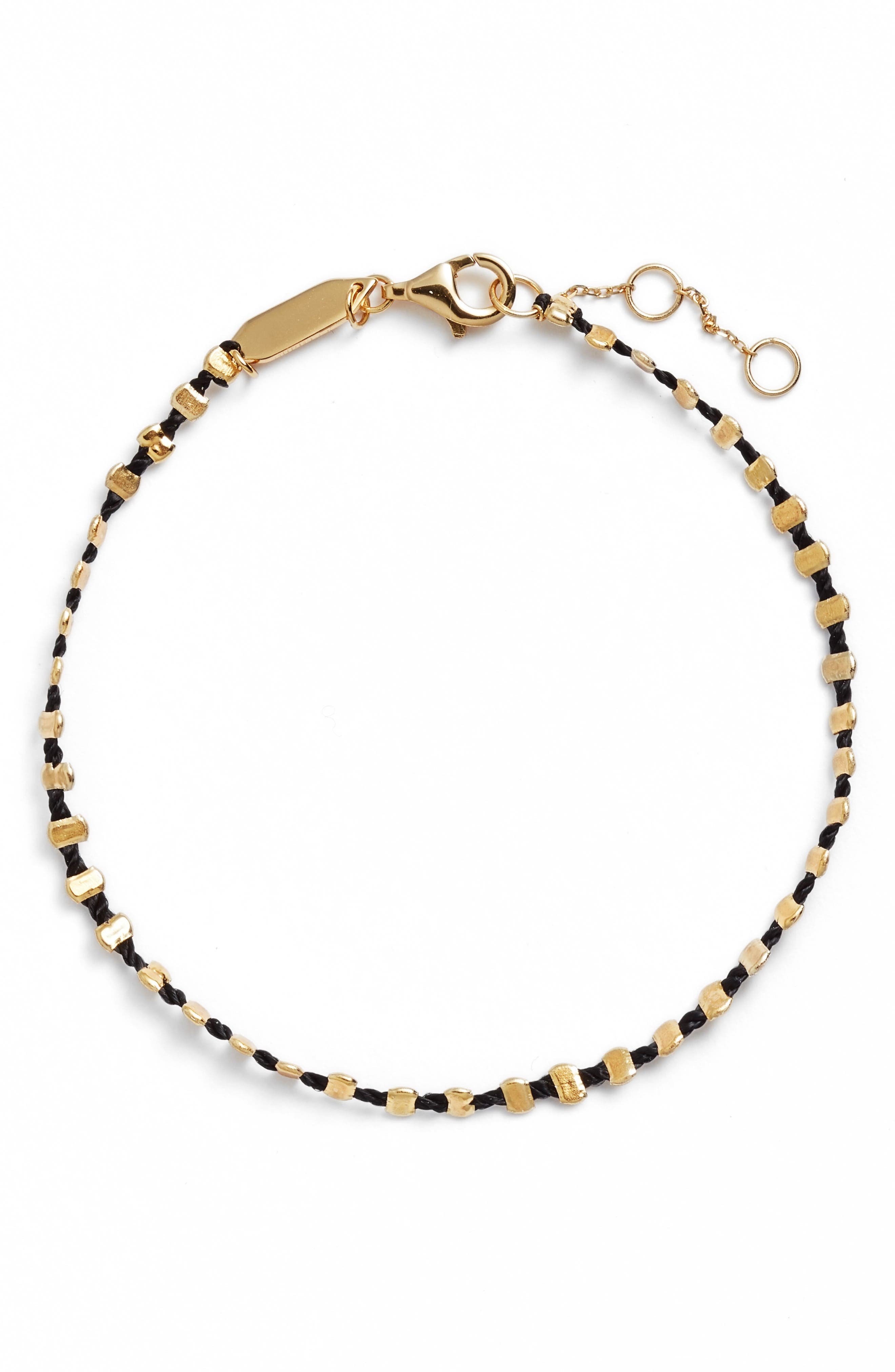 Sydney Vermeil Studded Black Band Bracelet,                             Main thumbnail 1, color,                             Gold