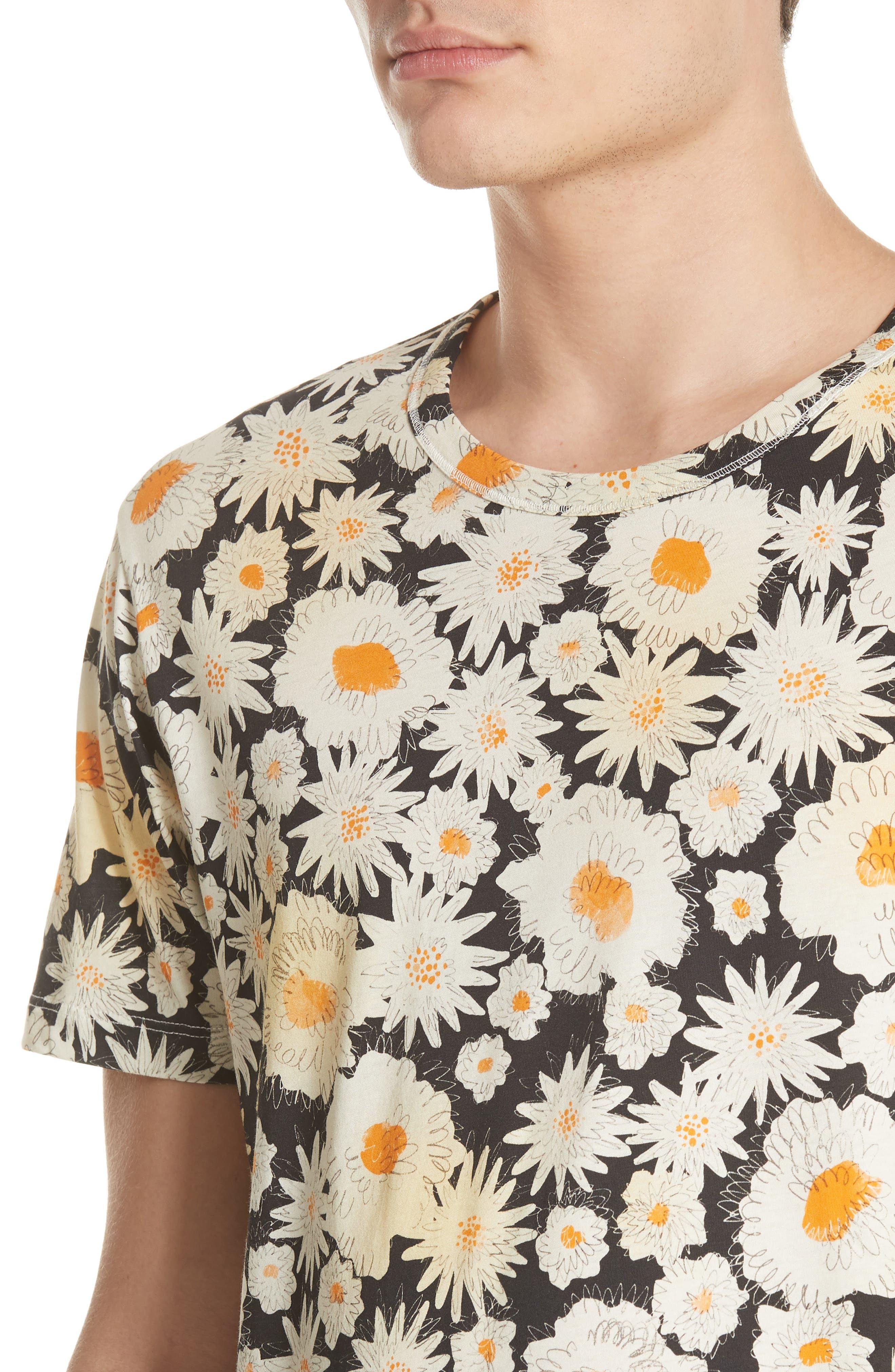 Adderton Flower Print T-Shirt,                             Alternate thumbnail 4, color,                             Black
