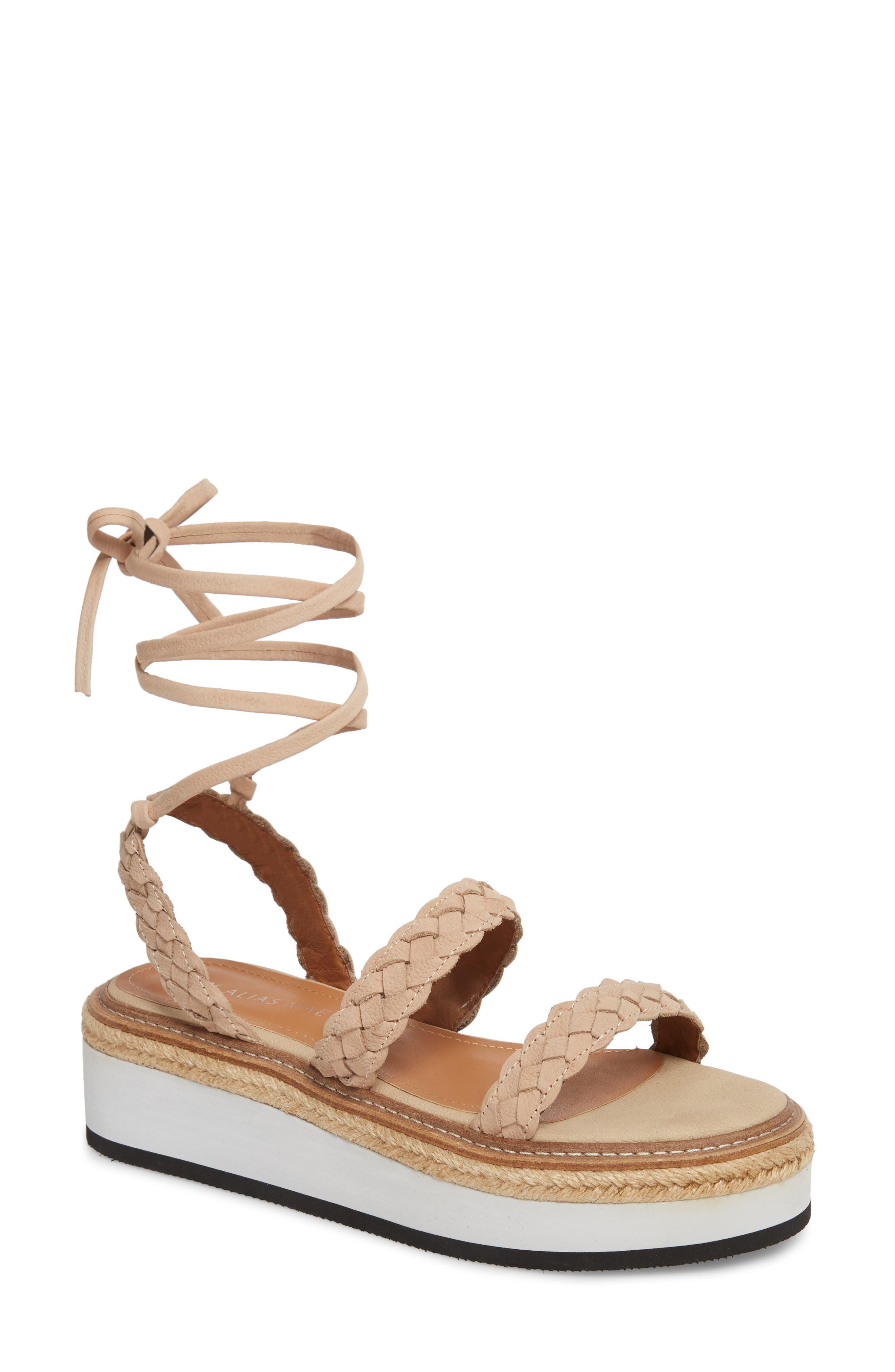 Nieve Braided Platform Sandal,                             Main thumbnail 1, color,                             Natural Leather