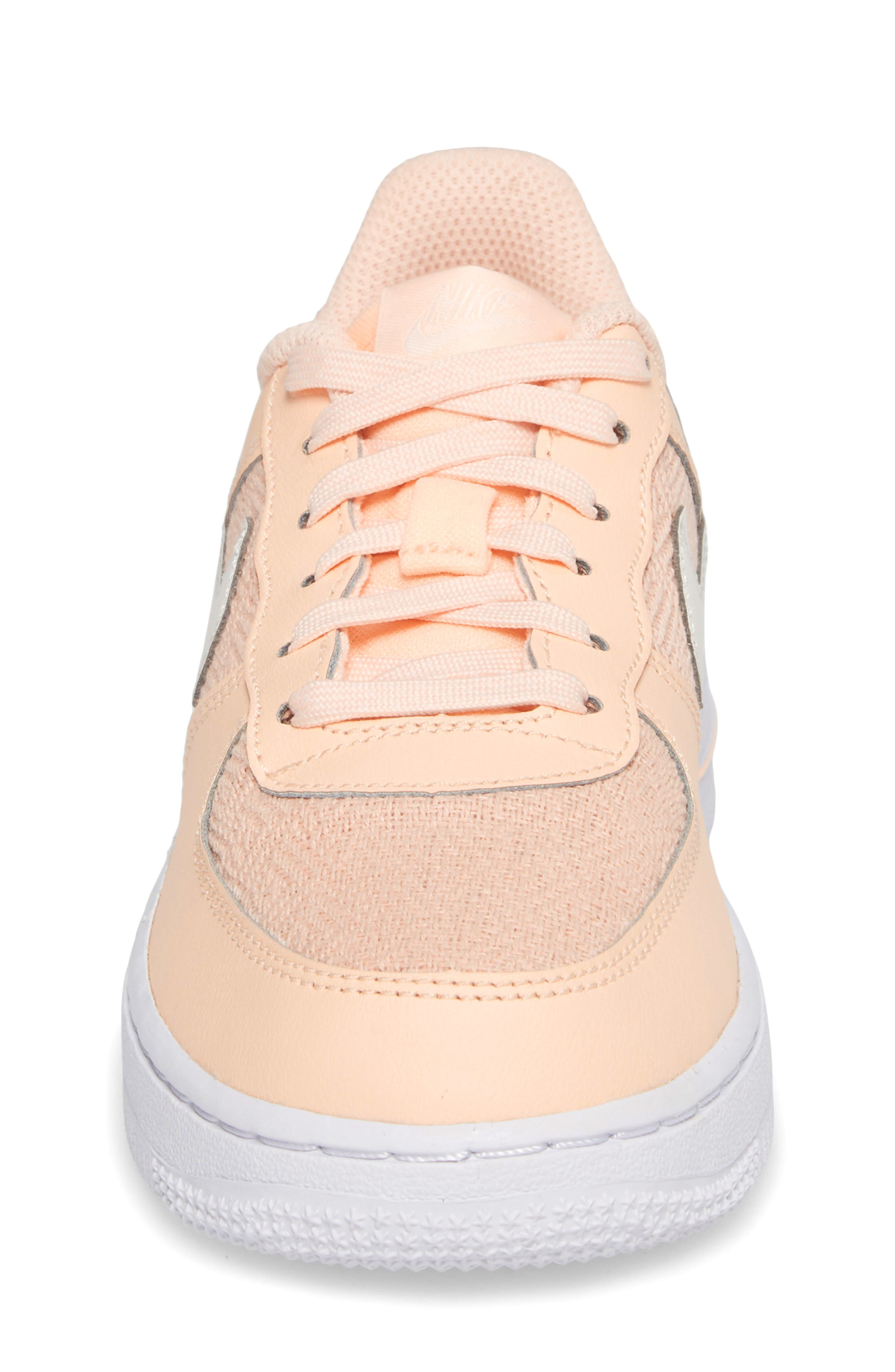 Air Force 1 LV8 Sneaker,                             Alternate thumbnail 4, color,                             Crimson Tint/ Sail/ White