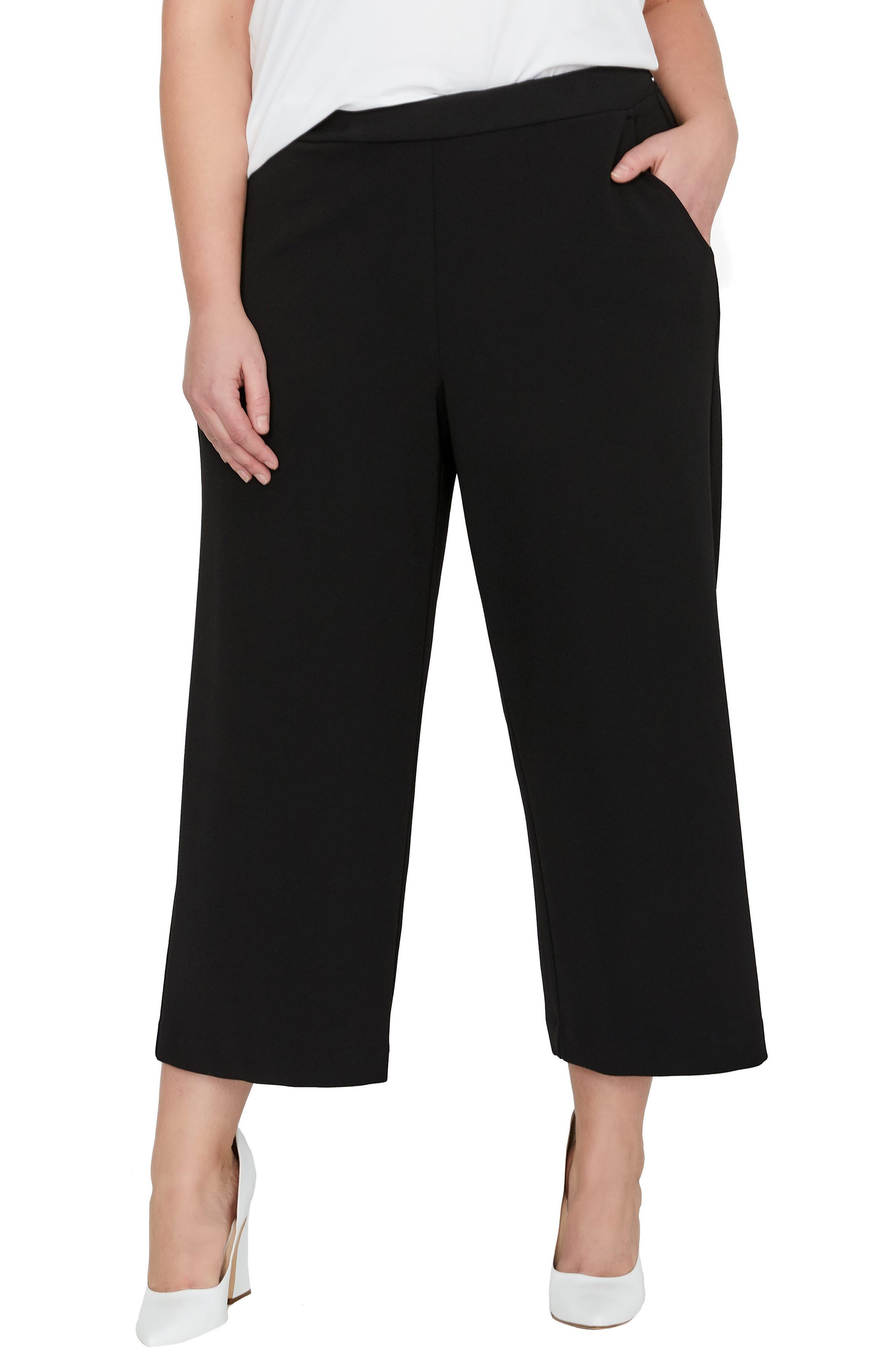 MICHEL STUDIO Crop Pull-On Wide Leg Pants (Plus Size)