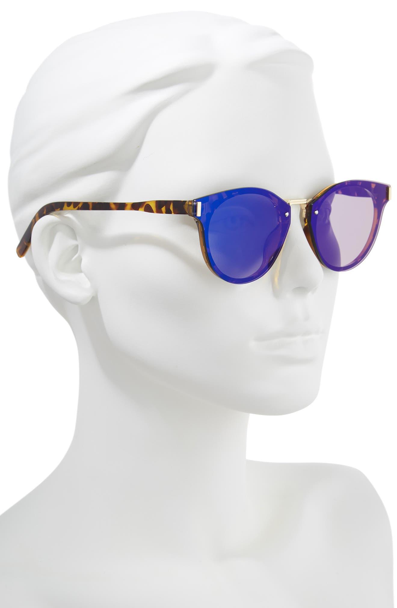 Flat Cat Eye Sunglasses,                             Alternate thumbnail 2, color,                             Tort/ Blue
