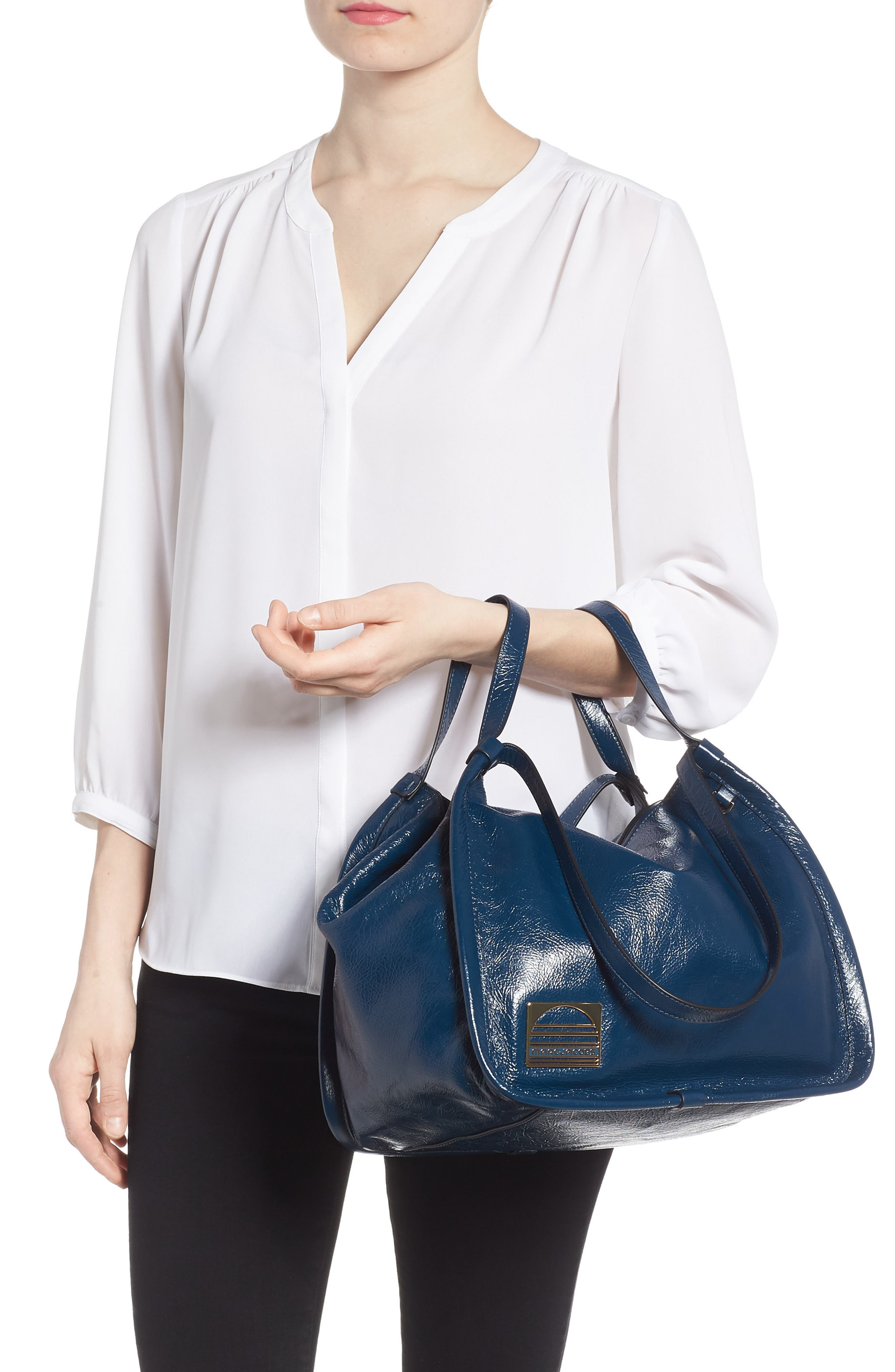 Leather Sport Tote,                             Alternate thumbnail 3, color,                             Island Blue