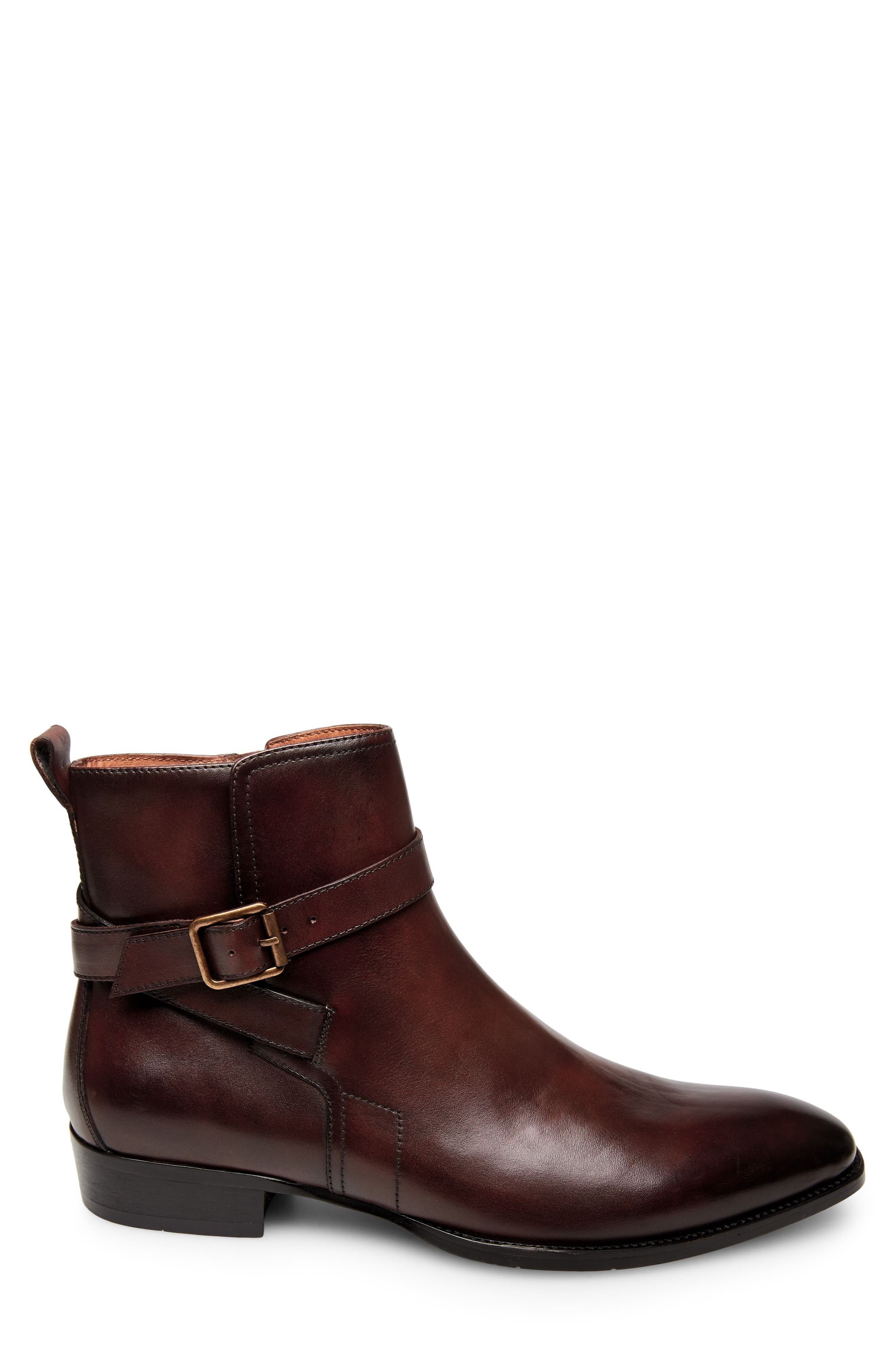 Sacha Buckle Strap Boot,                             Alternate thumbnail 3, color,                             Brown Leather