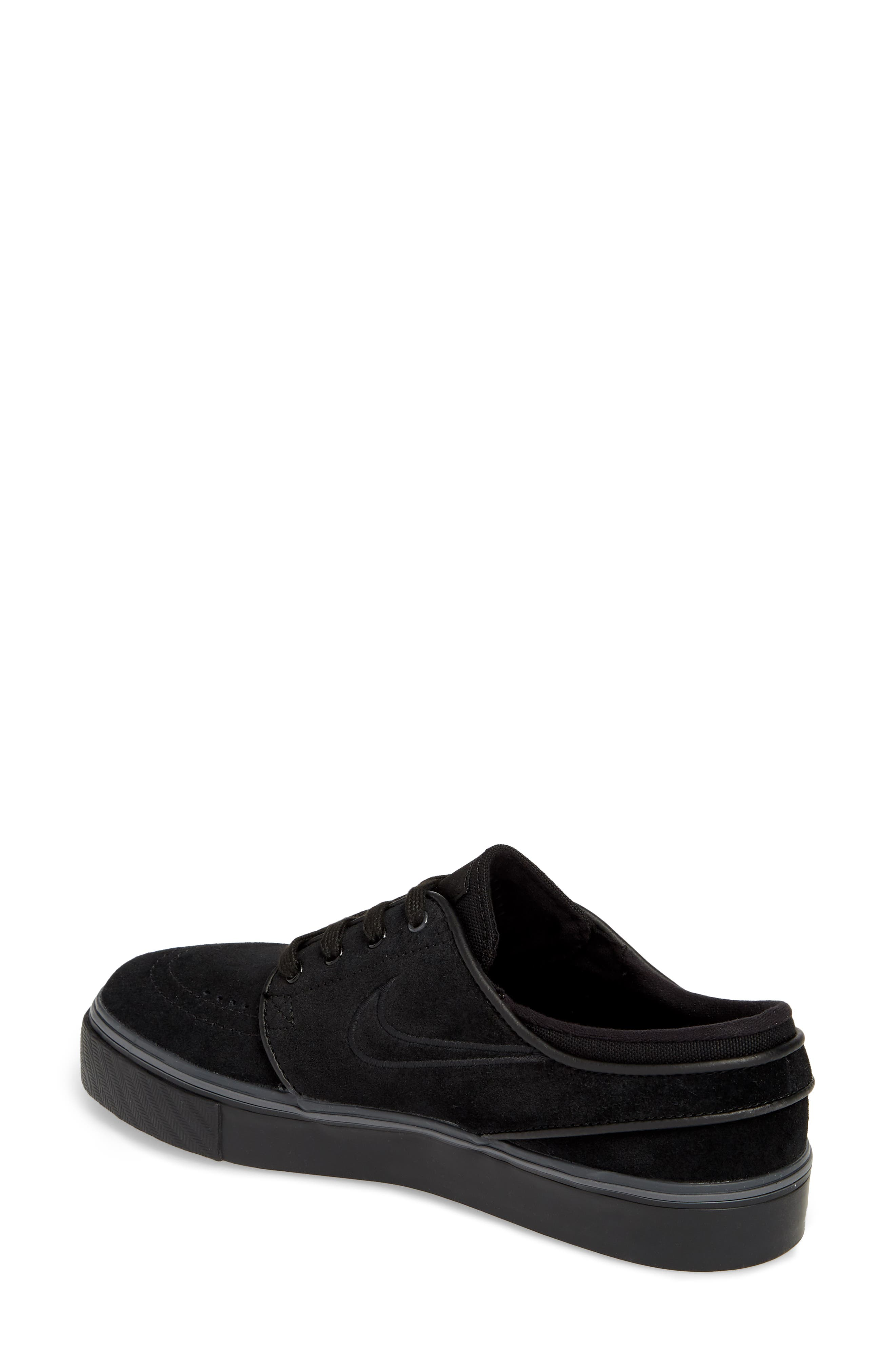 SB Air Zoom Stefan Janoski Skate Sneaker,                             Alternate thumbnail 2, color,                             Black/ Black/ Black
