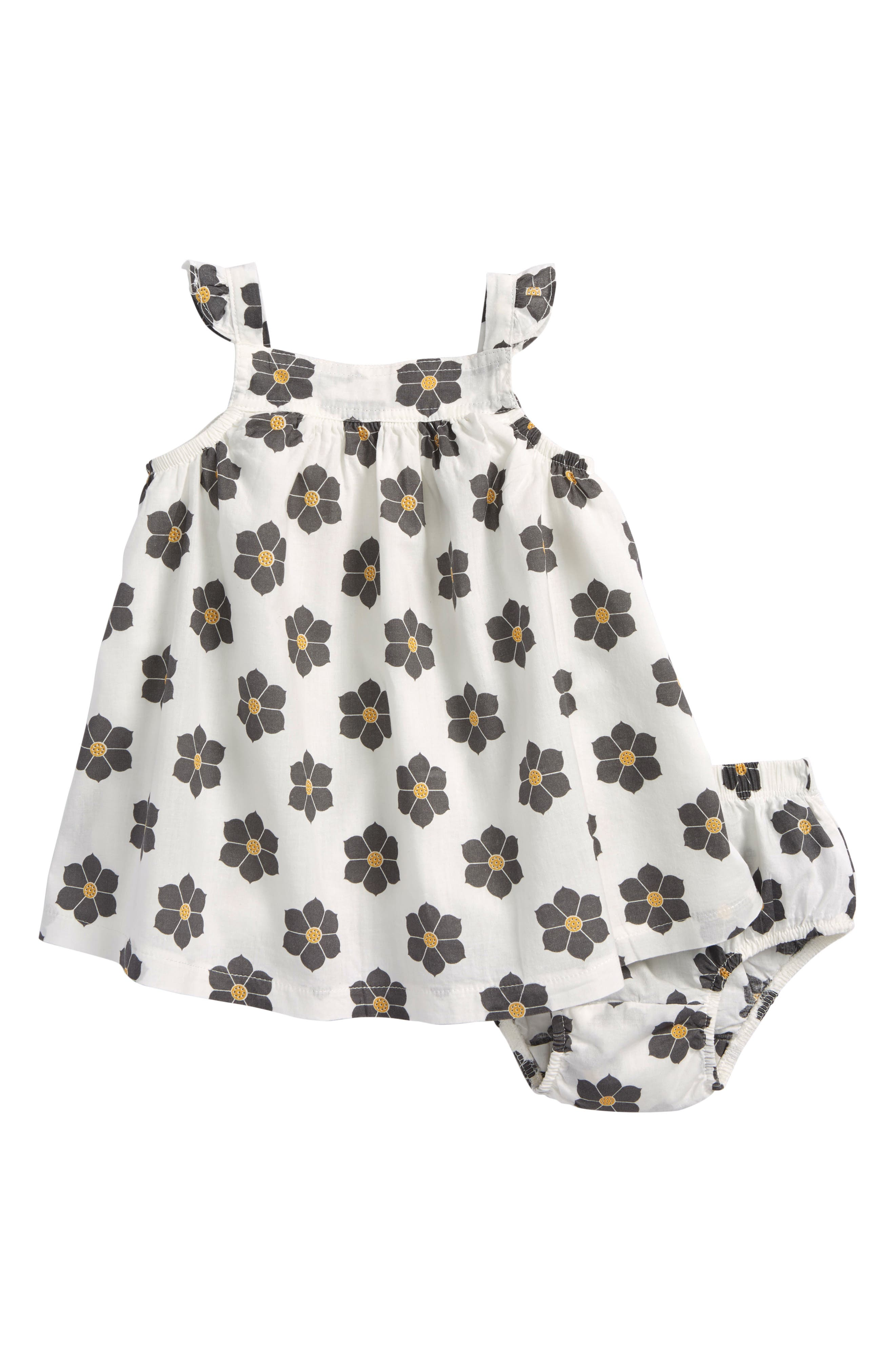 Floral Print Sleeveless Dress,                             Main thumbnail 1, color,                             White