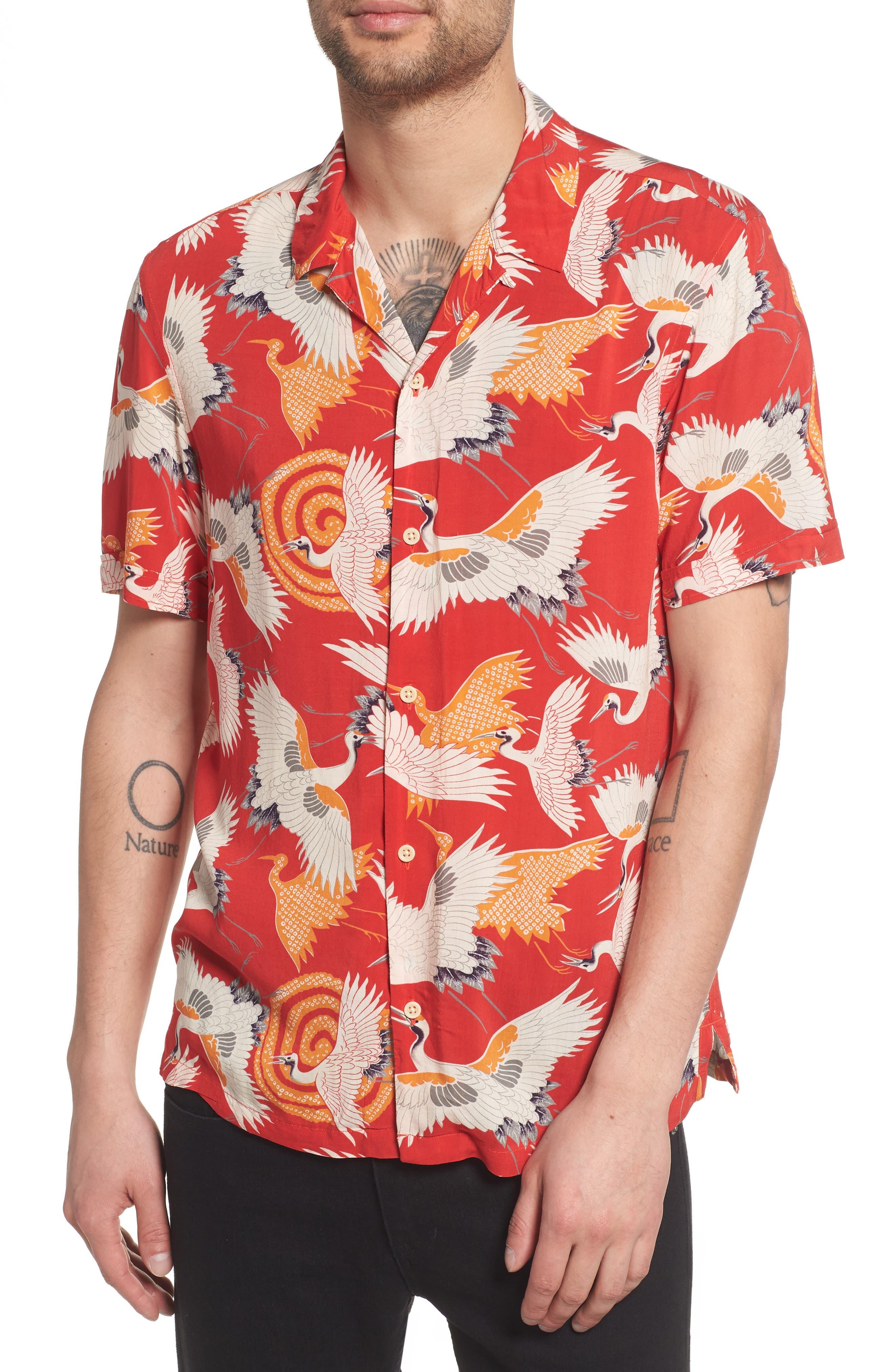 Tsuru Regular Fit Short Sleeve Sport Shirt,                         Main,                         color, Red