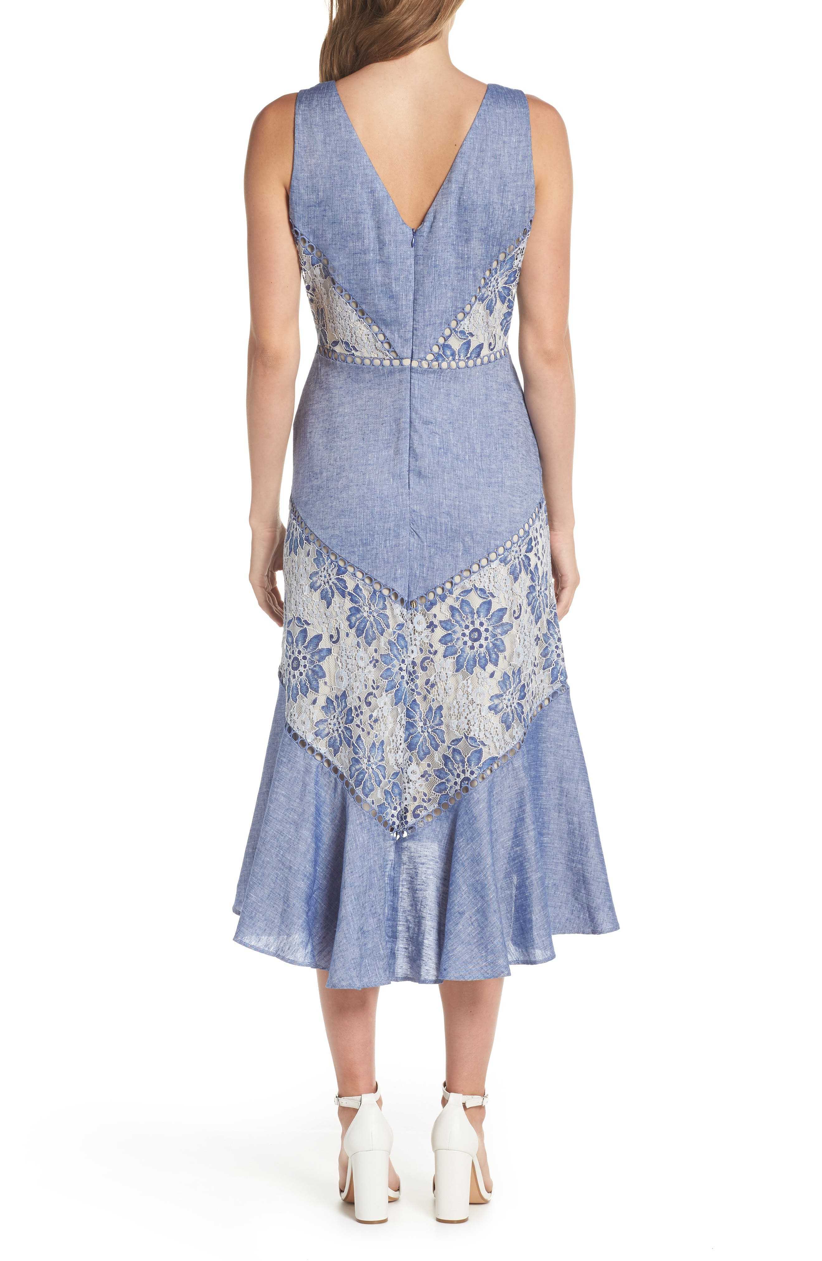 Alternate Image 2  - Taylor Dresses Chambray & Lace Midi Dress
