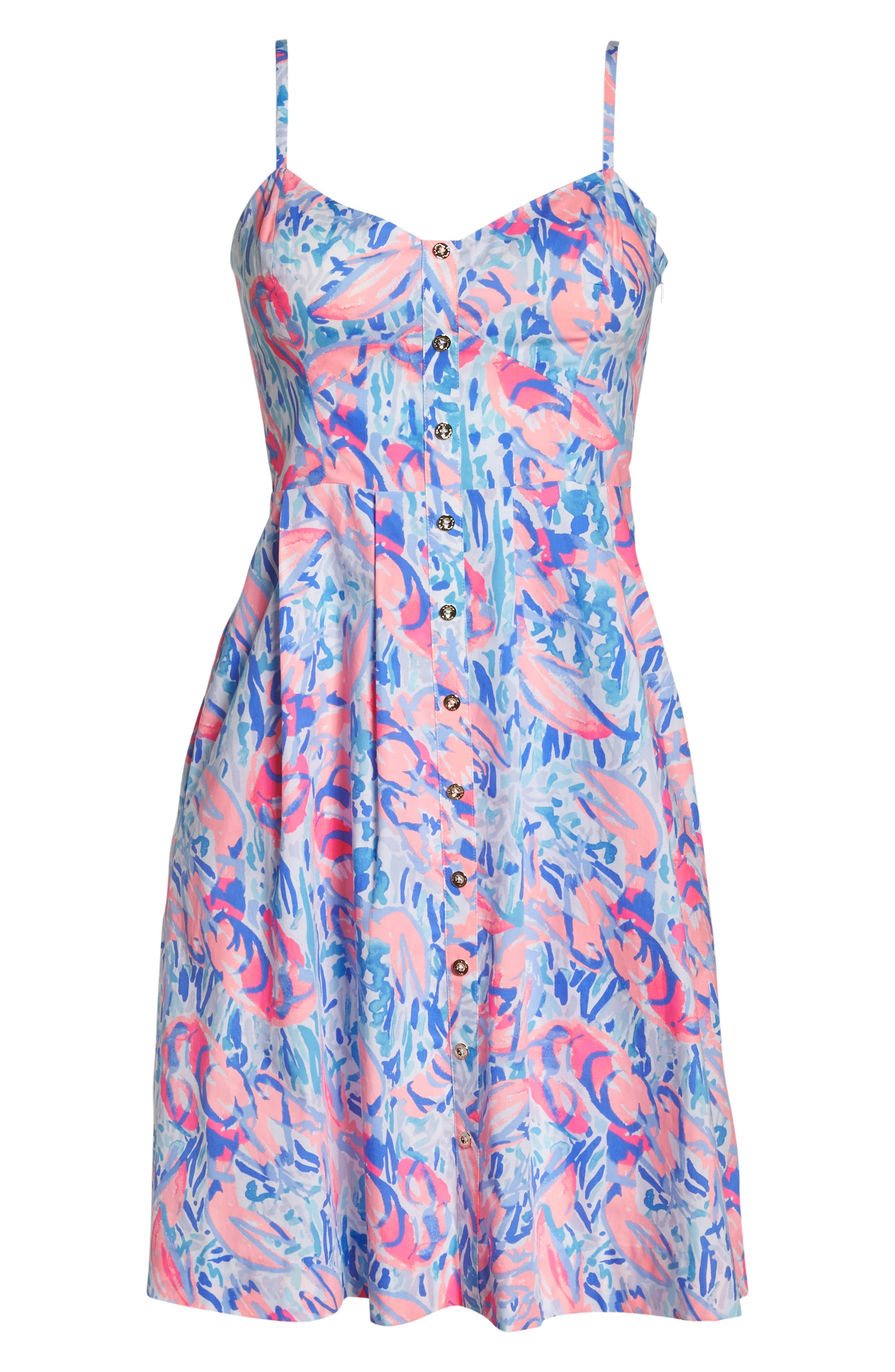 Easton Fit & Flare Dress,                             Alternate thumbnail 6, color,                             Cosmic Coral Cracked Up