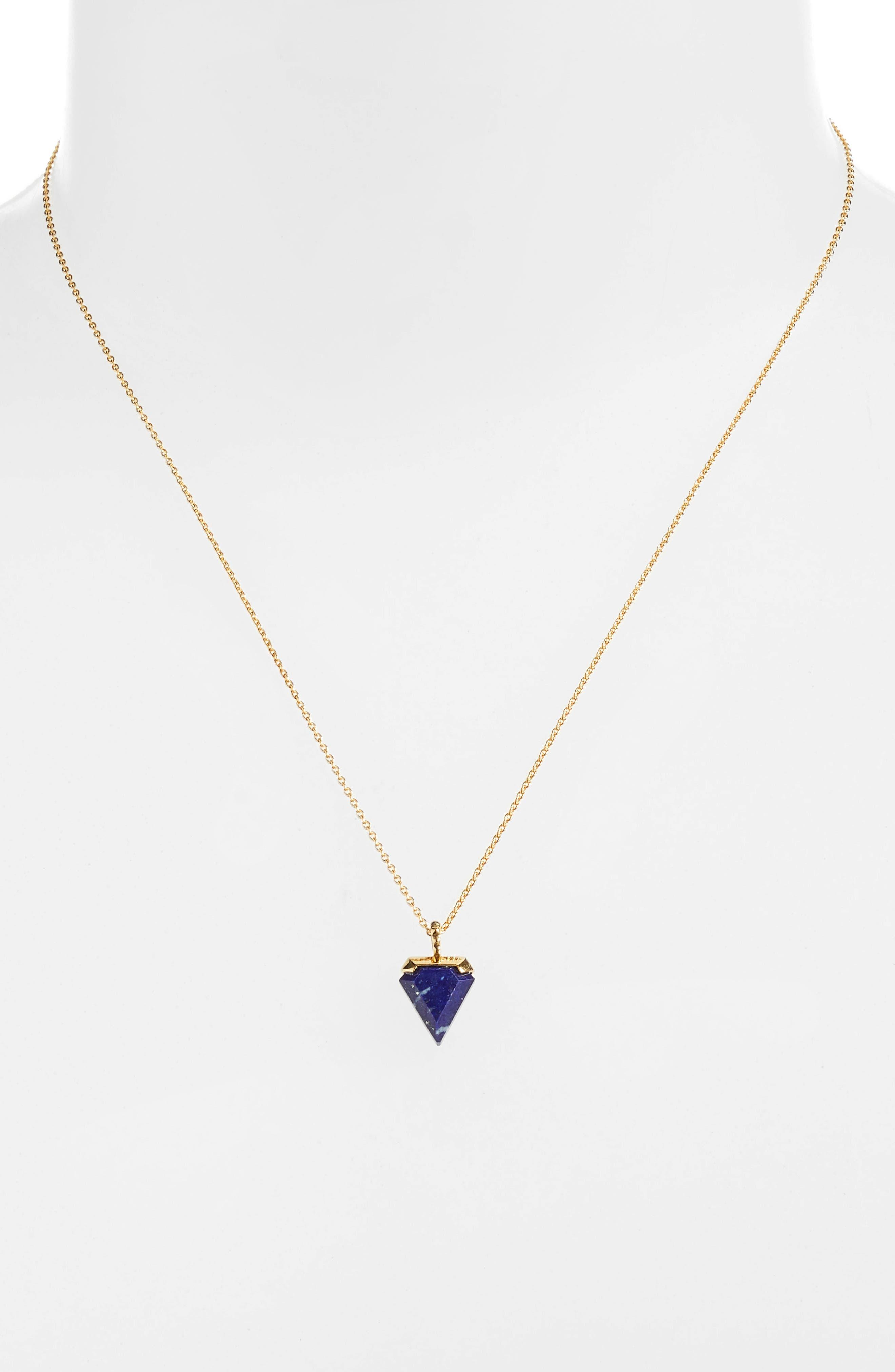 Mini Shield Pendant Necklace,                             Alternate thumbnail 2, color,                             Lapis/ Gold