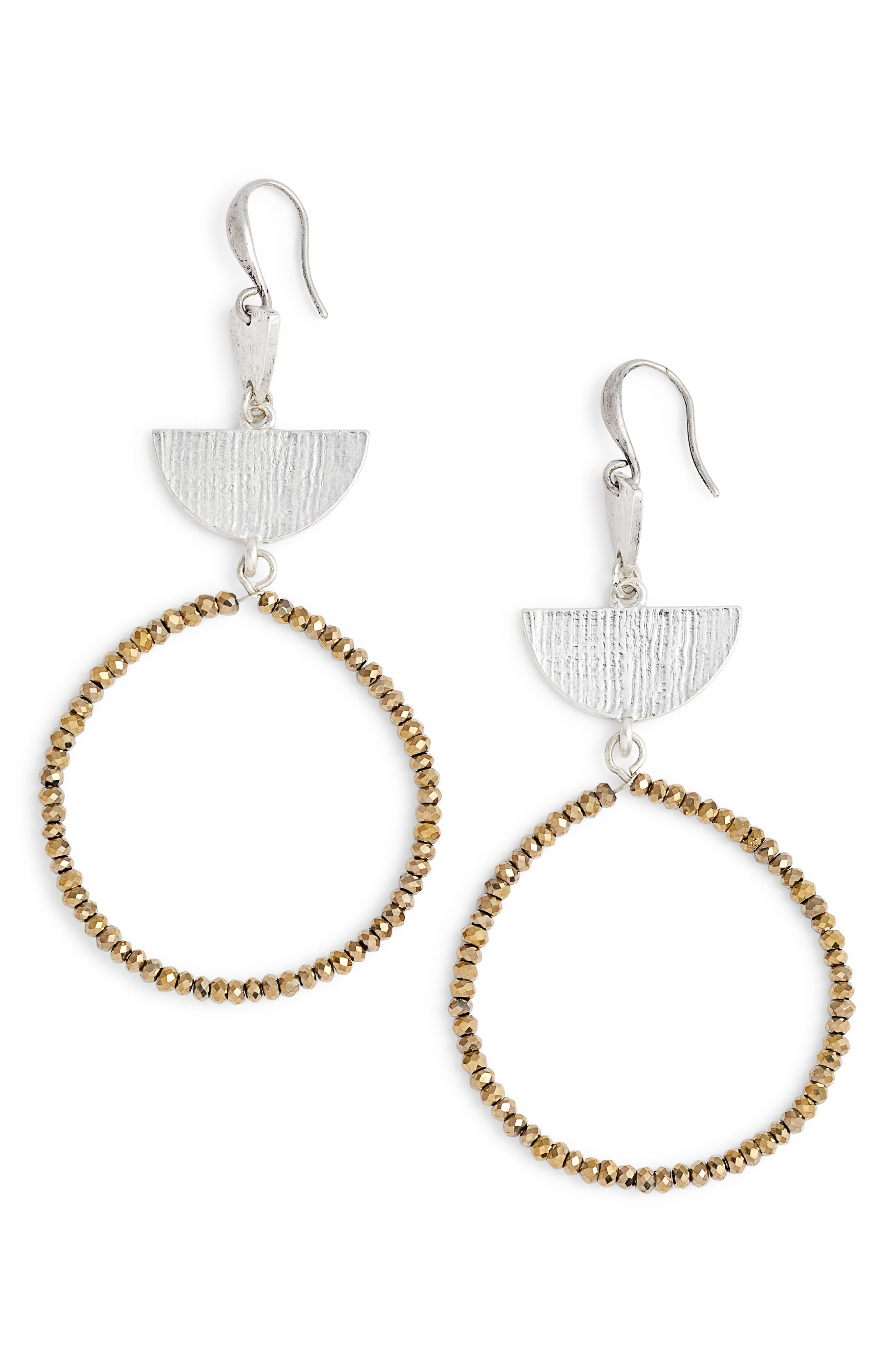 Etched Plate Beaded Earrings,                         Main,                         color, Metallic- Rhodium