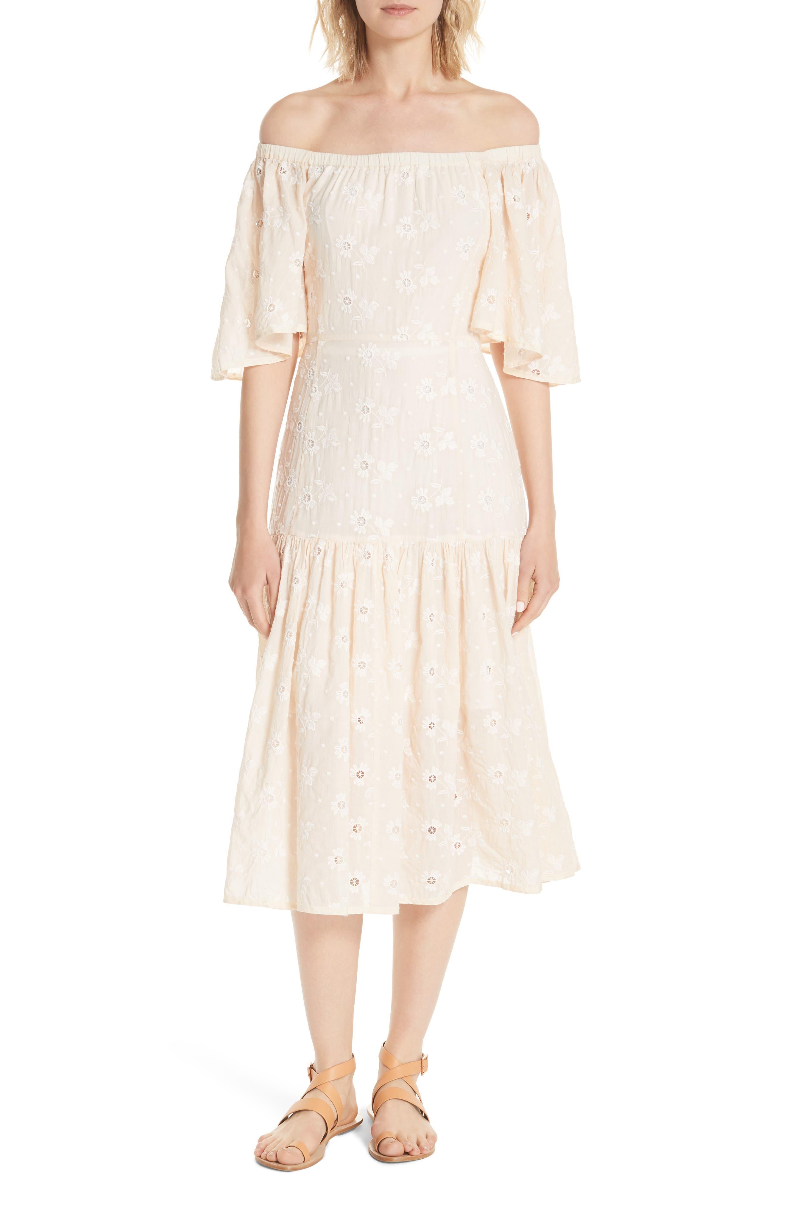 La Vie Rebecca Taylor Helene Embroidery Off the Shoulder Cotton Dress