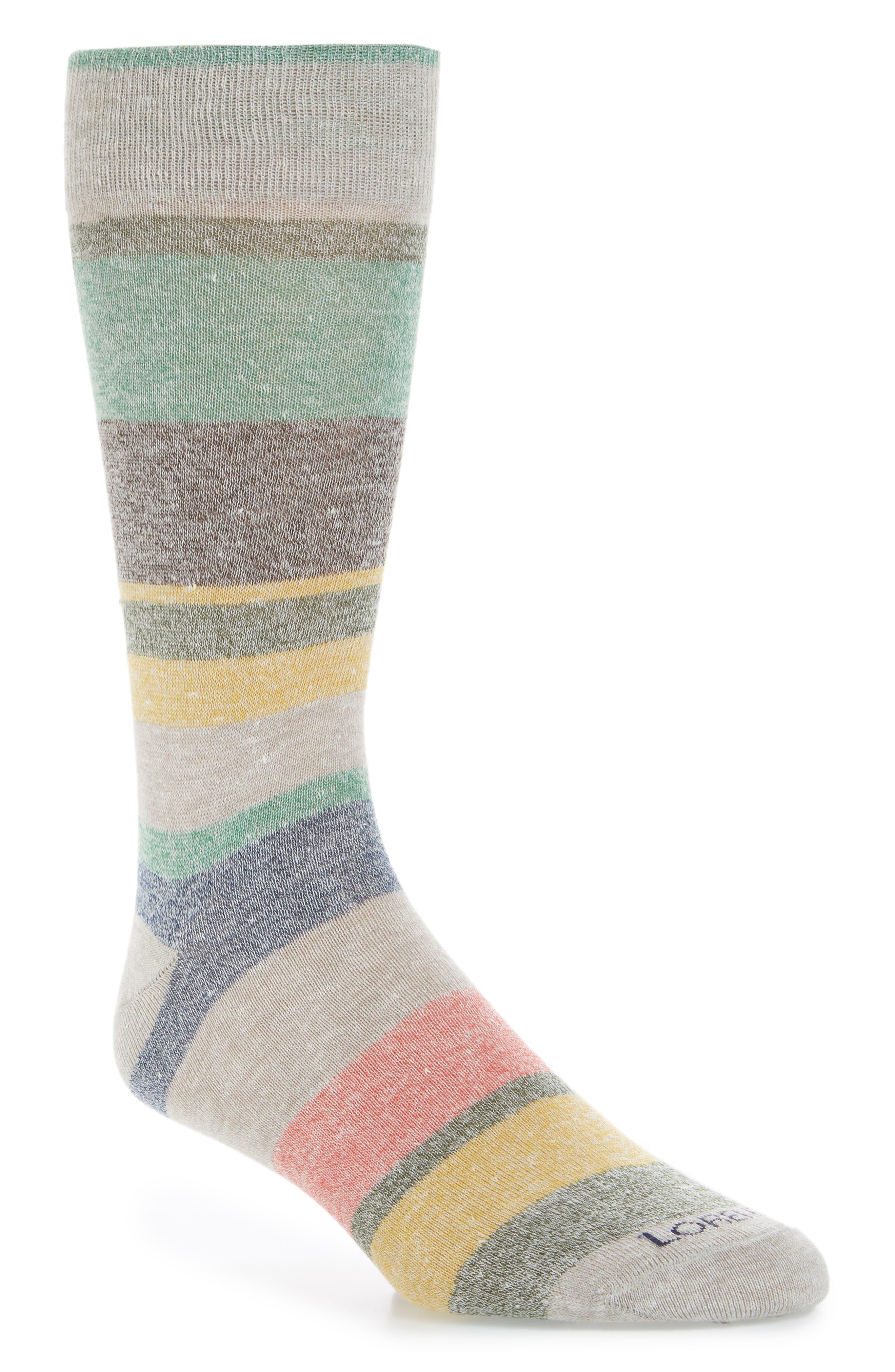 Multistripe Crew Socks,                             Main thumbnail 1, color,                             Sand