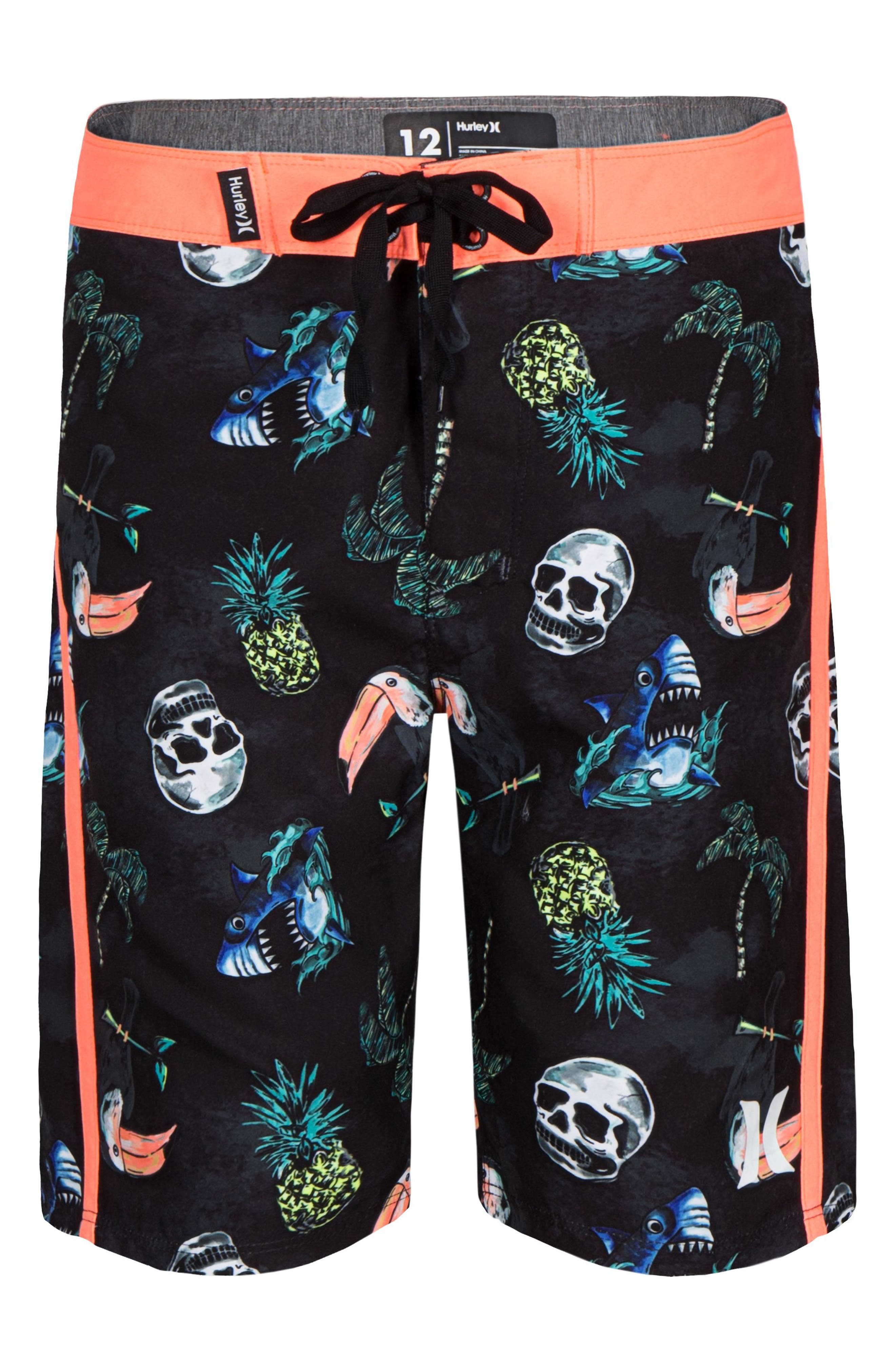 Toucan Print Board Shorts,                         Main,                         color, Black