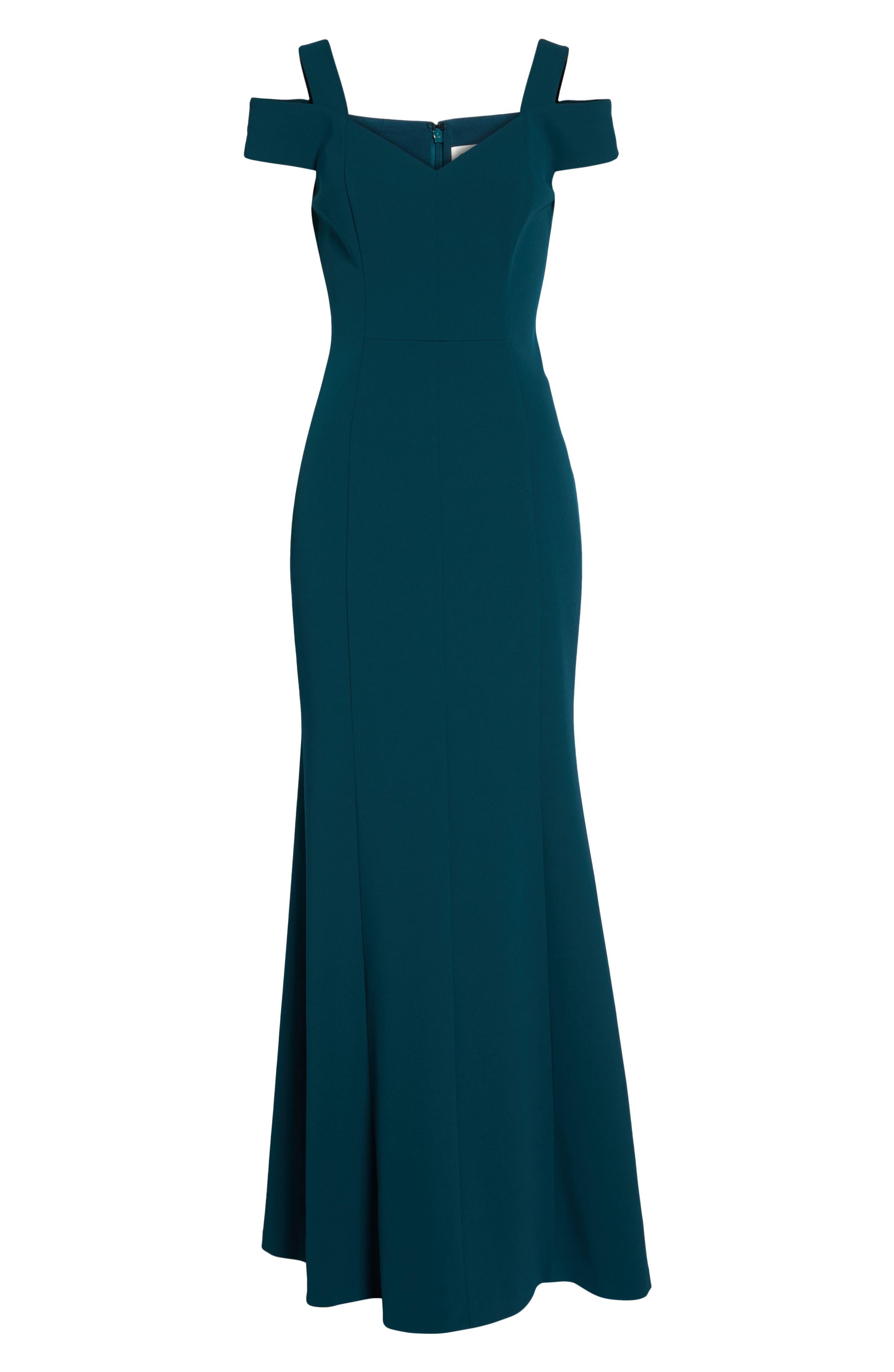 Cold Shoulder Scuba Crepe Trumpet Gown,                             Alternate thumbnail 6, color,                             Emerald