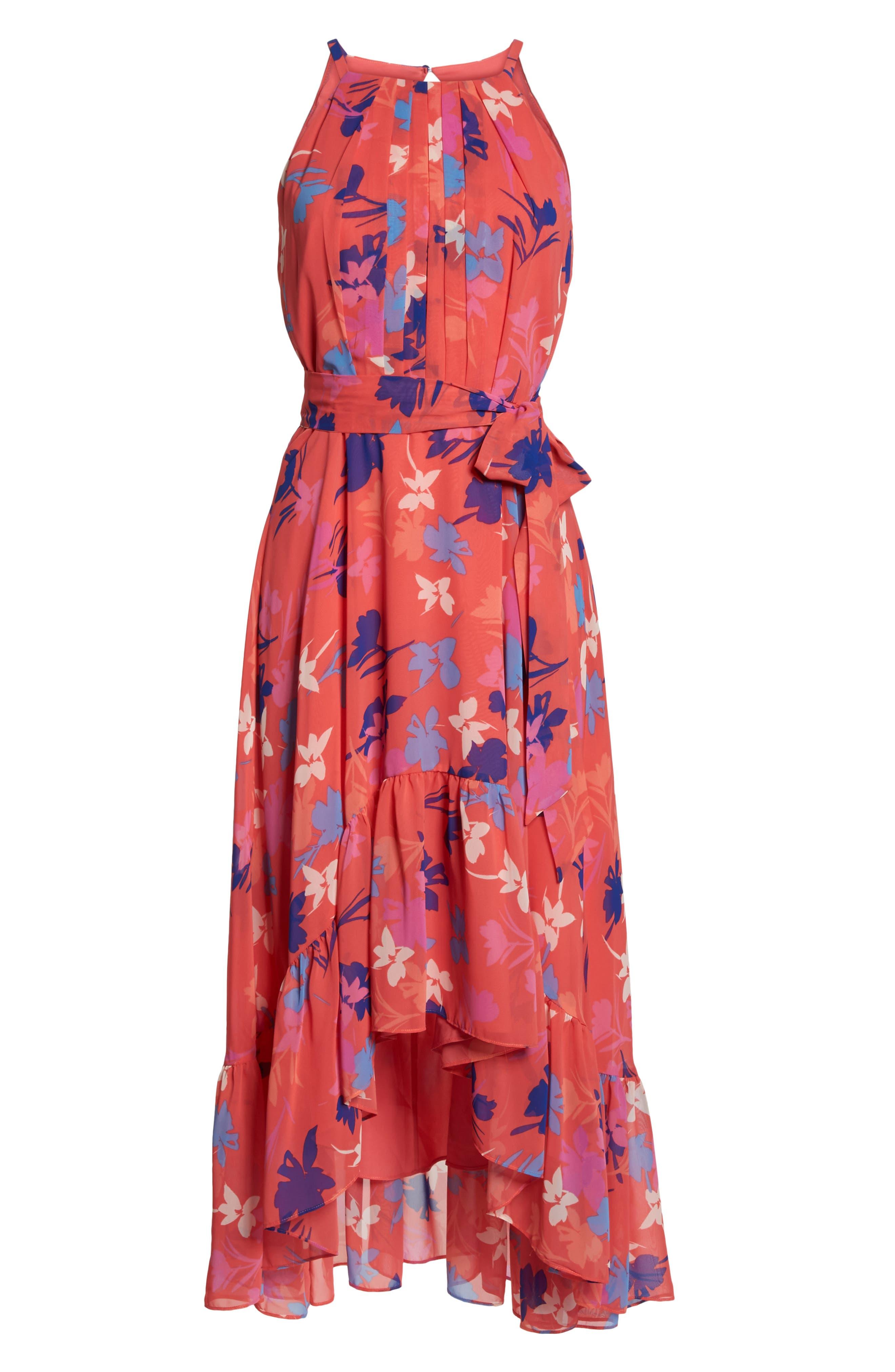 Floral High/Low Chiffon Halter Dress,                             Alternate thumbnail 7, color,                             Coral