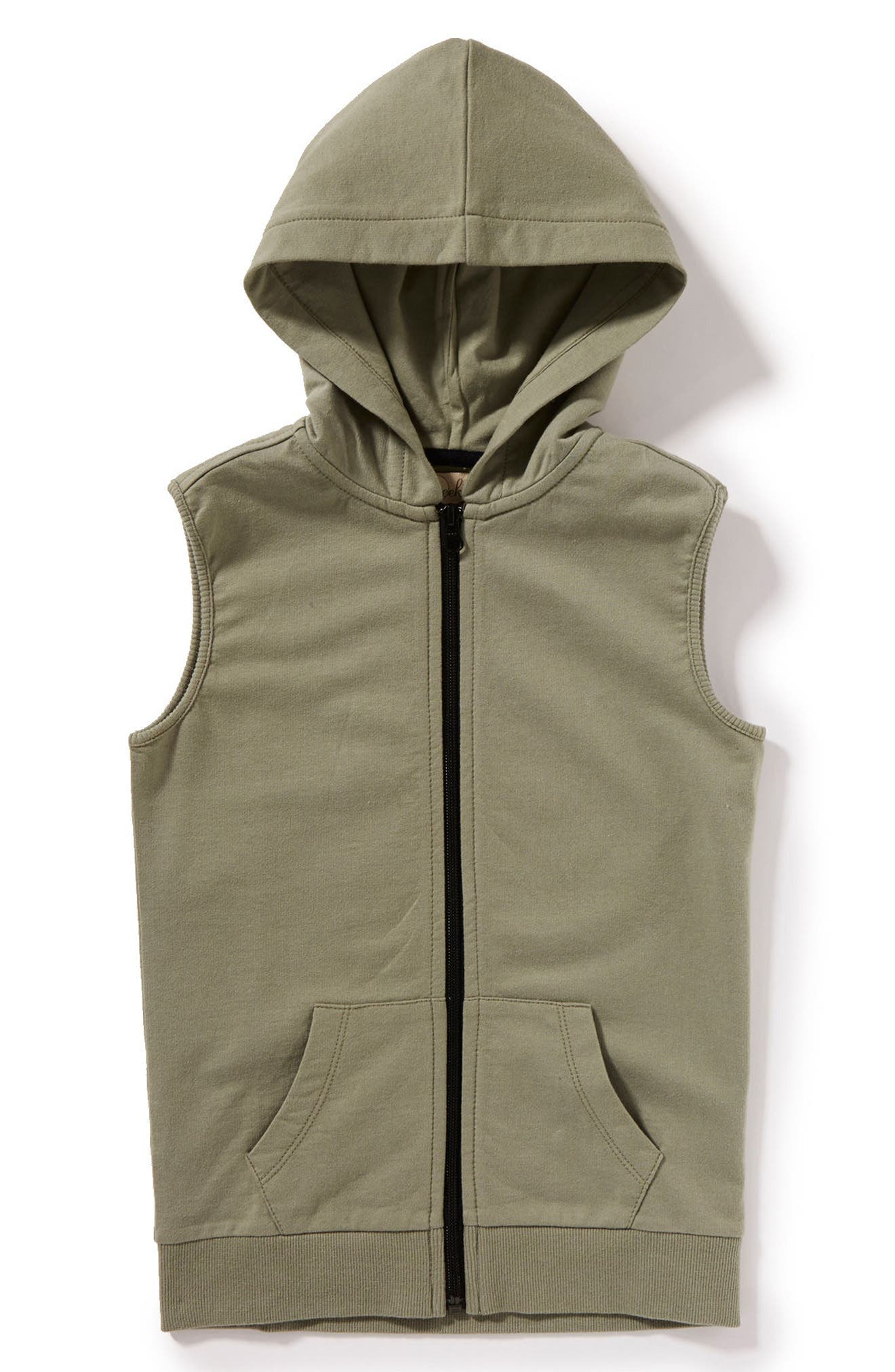 Max Sleeveless Zip Hoodie,                         Main,                         color, Olive
