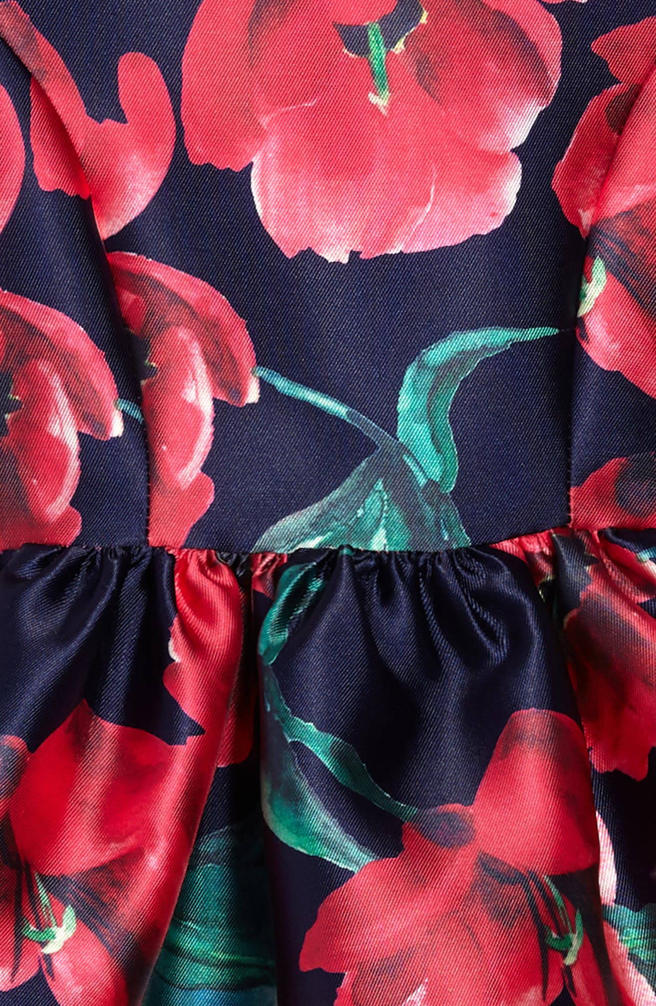 Poppy Party Dress,                             Alternate thumbnail 3, color,                             Navy/ Fuschia