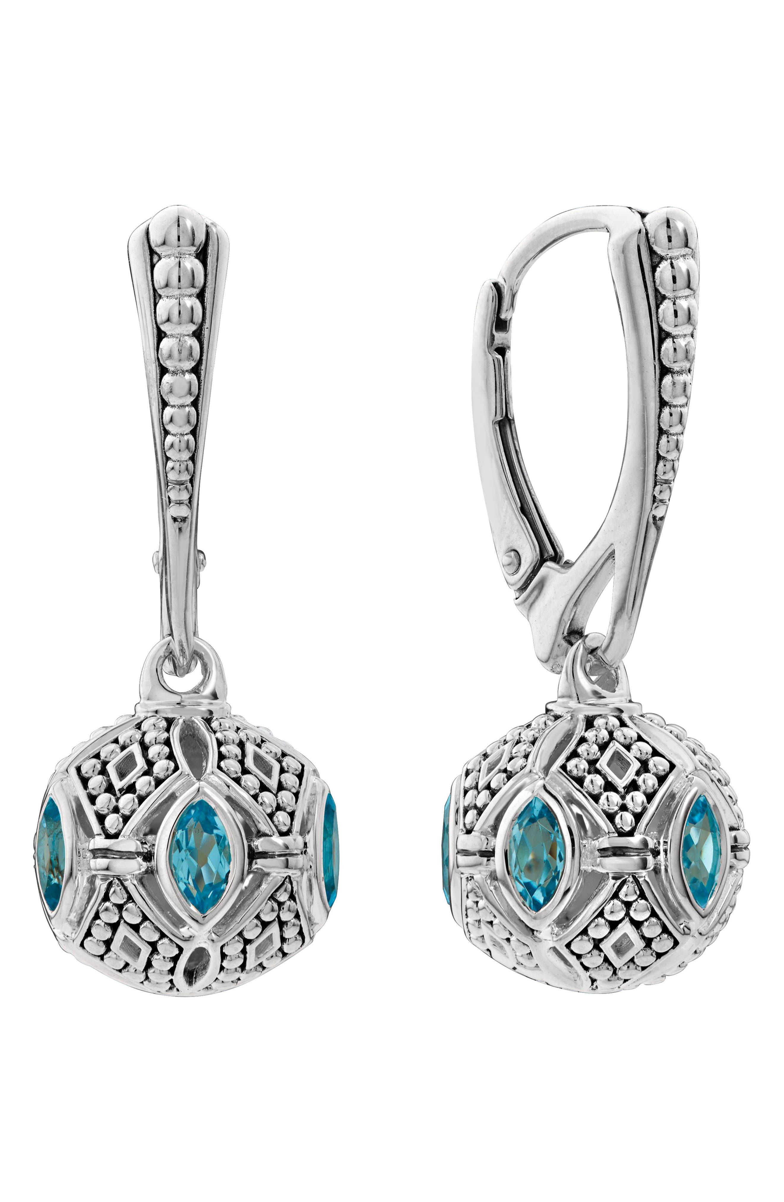 Caviar Talisman Marquee Leverback Earrings,                         Main,                         color, Silver/ 18K Gold/ Blue Topaz