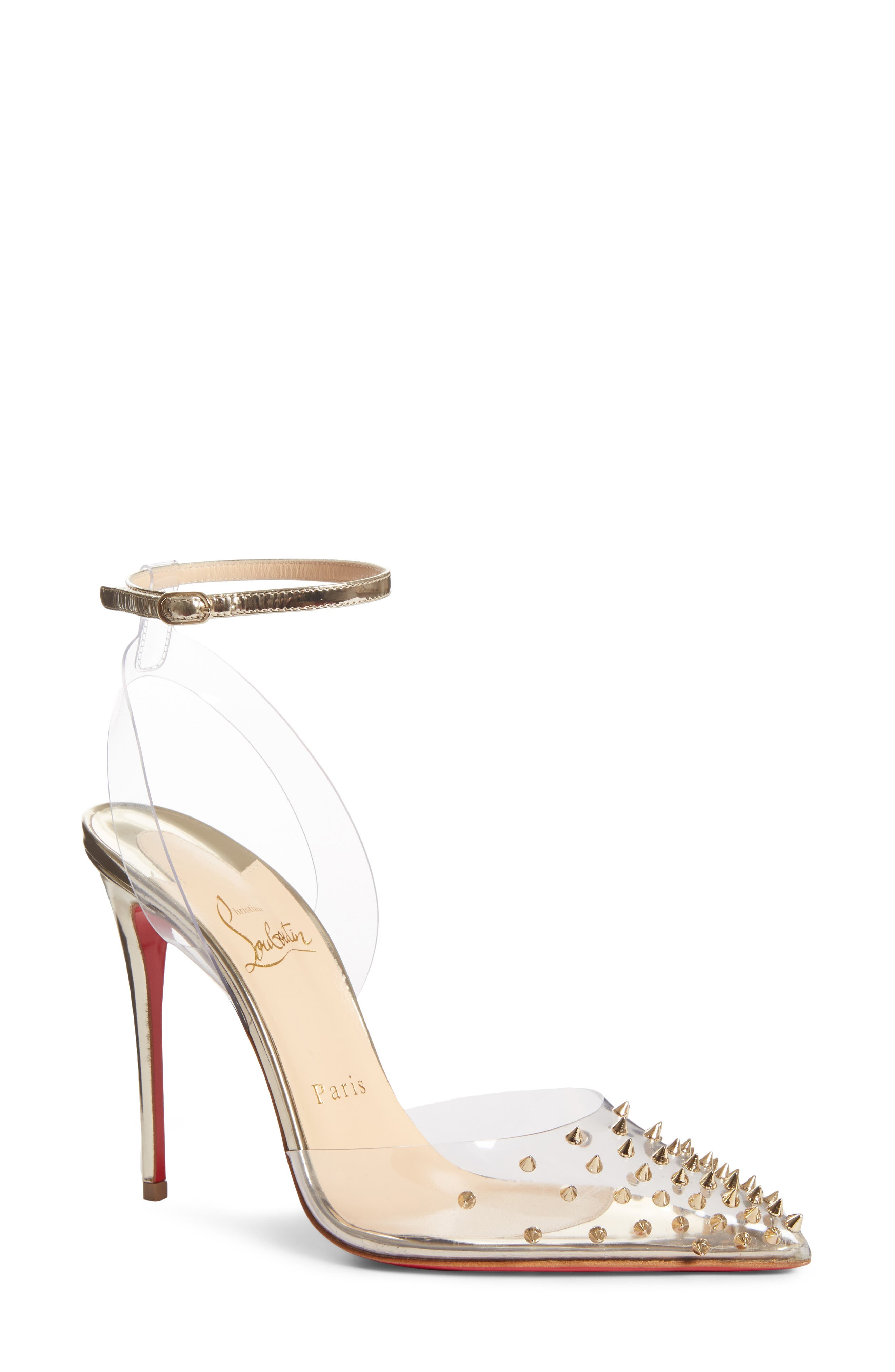 Christian Louboutin Spikoo Clear Ankle Strap Pump