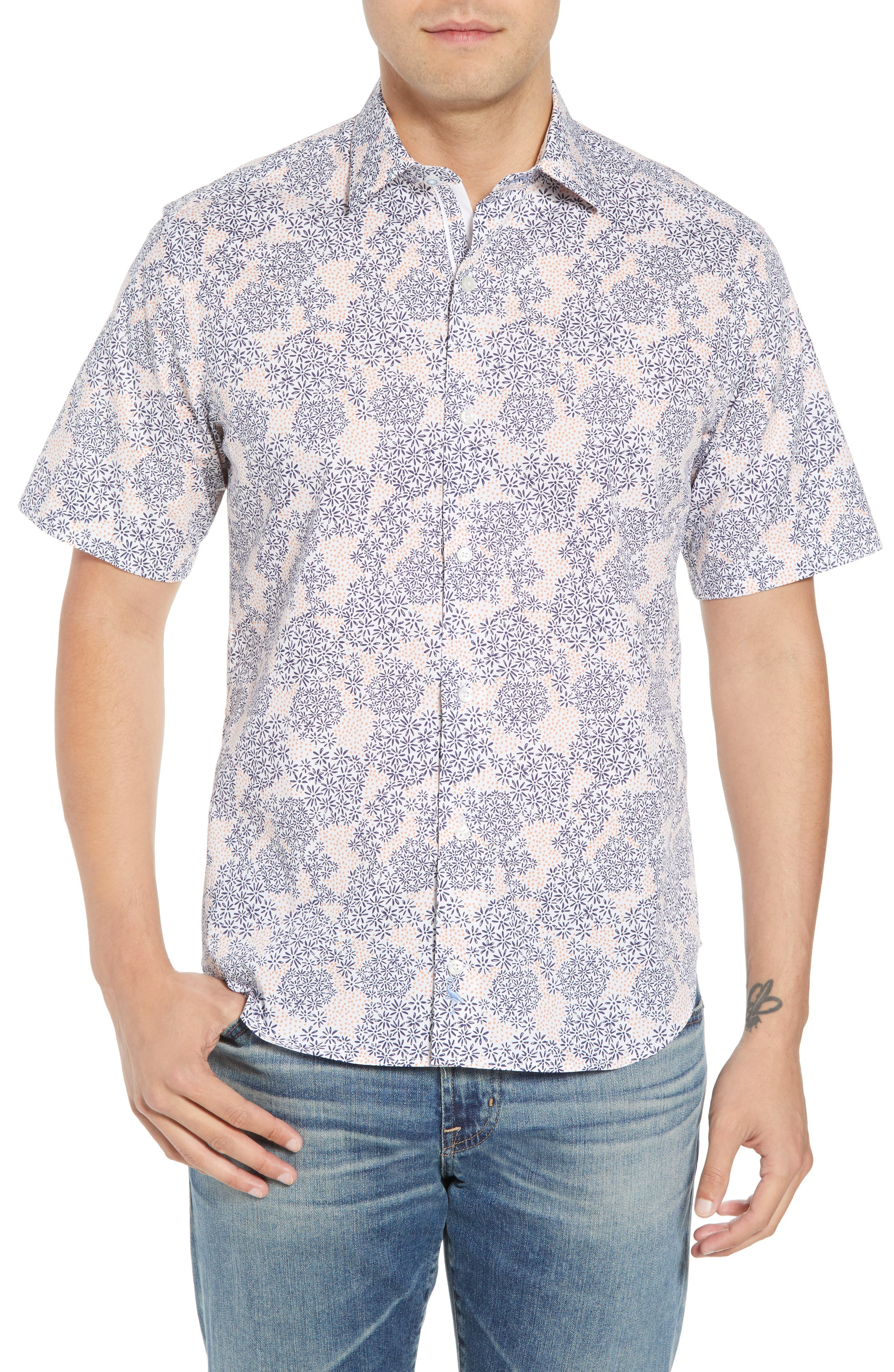 Ali Regular Fit Print Sport Shirt,                         Main,                         color, Navy