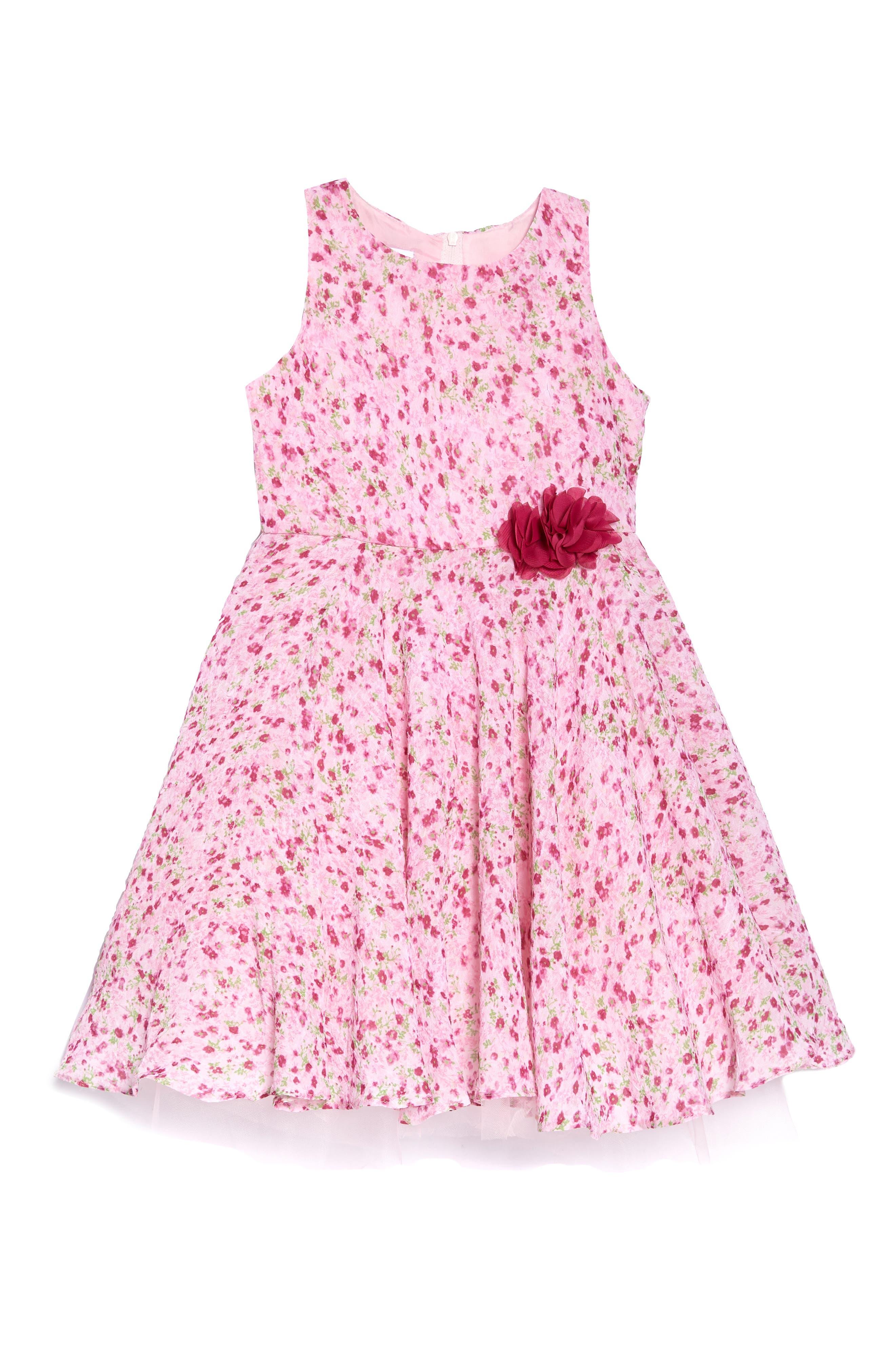 Floral Print Chiffon Dress,                             Main thumbnail 1, color,                             Pink