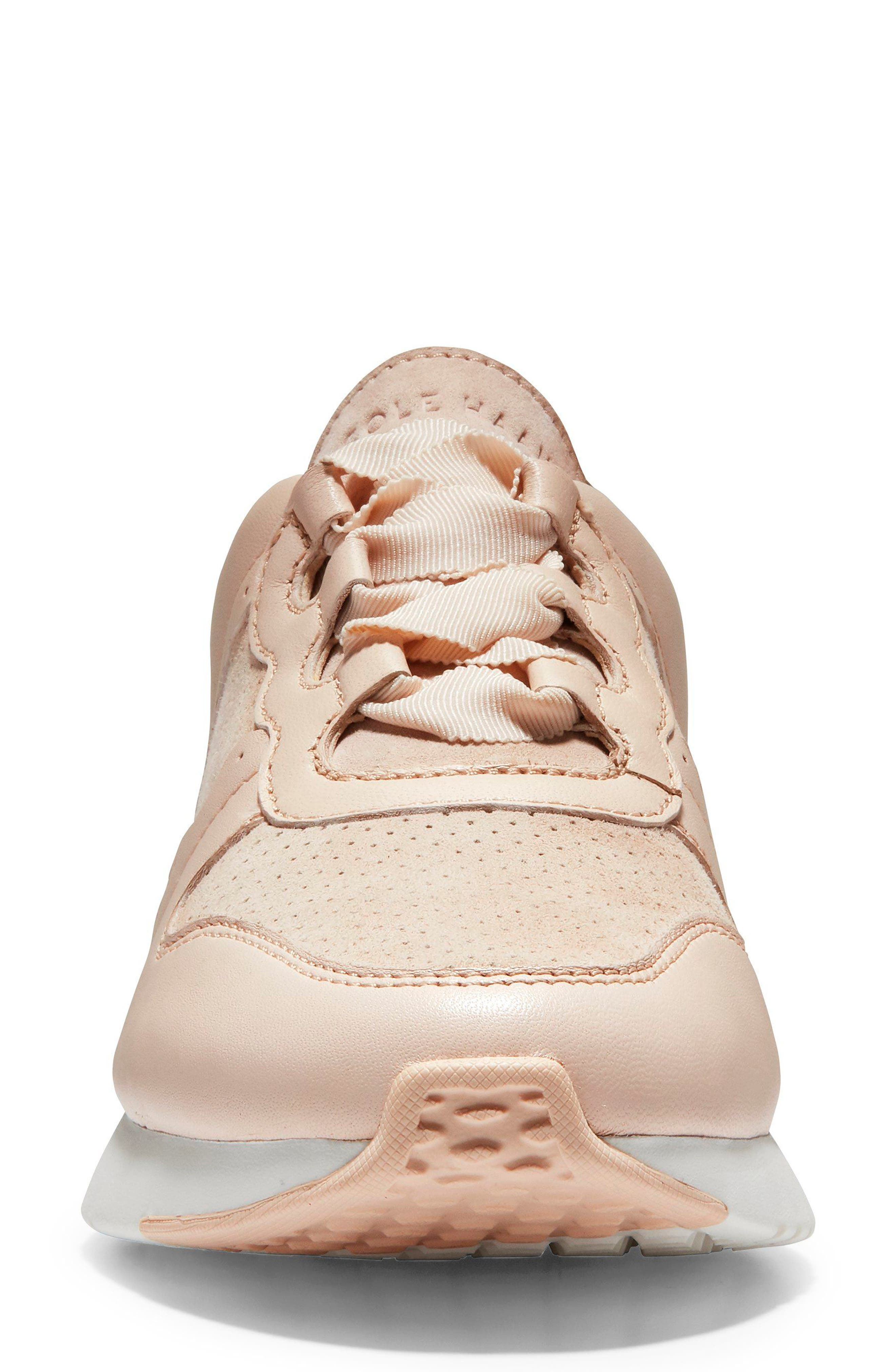 GrandPro Wedge Sneaker,                             Alternate thumbnail 4, color,                             Peach Blush Suede