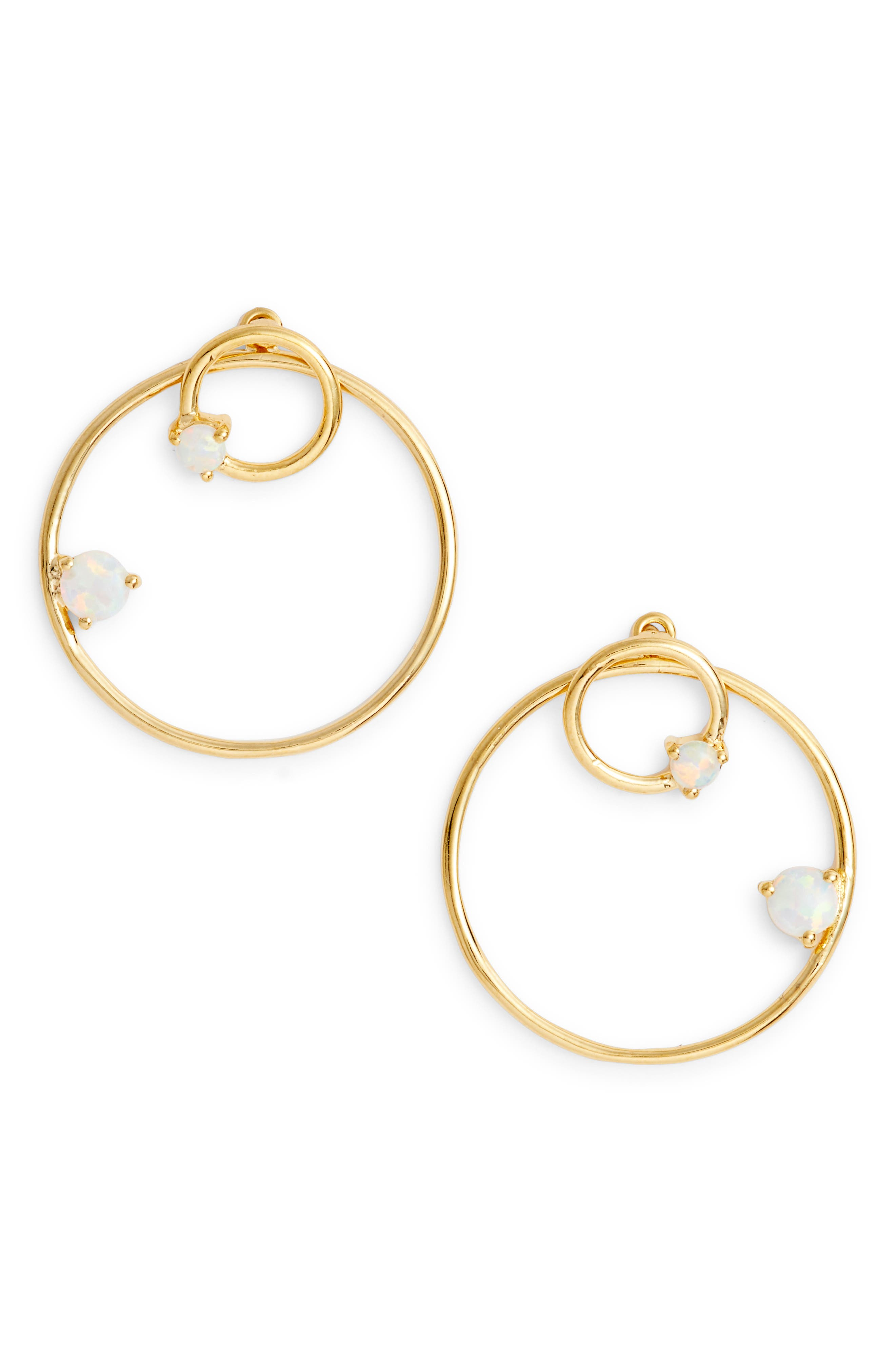 Sydney Double Open Ring Earrings,                             Main thumbnail 1, color,                             Gold