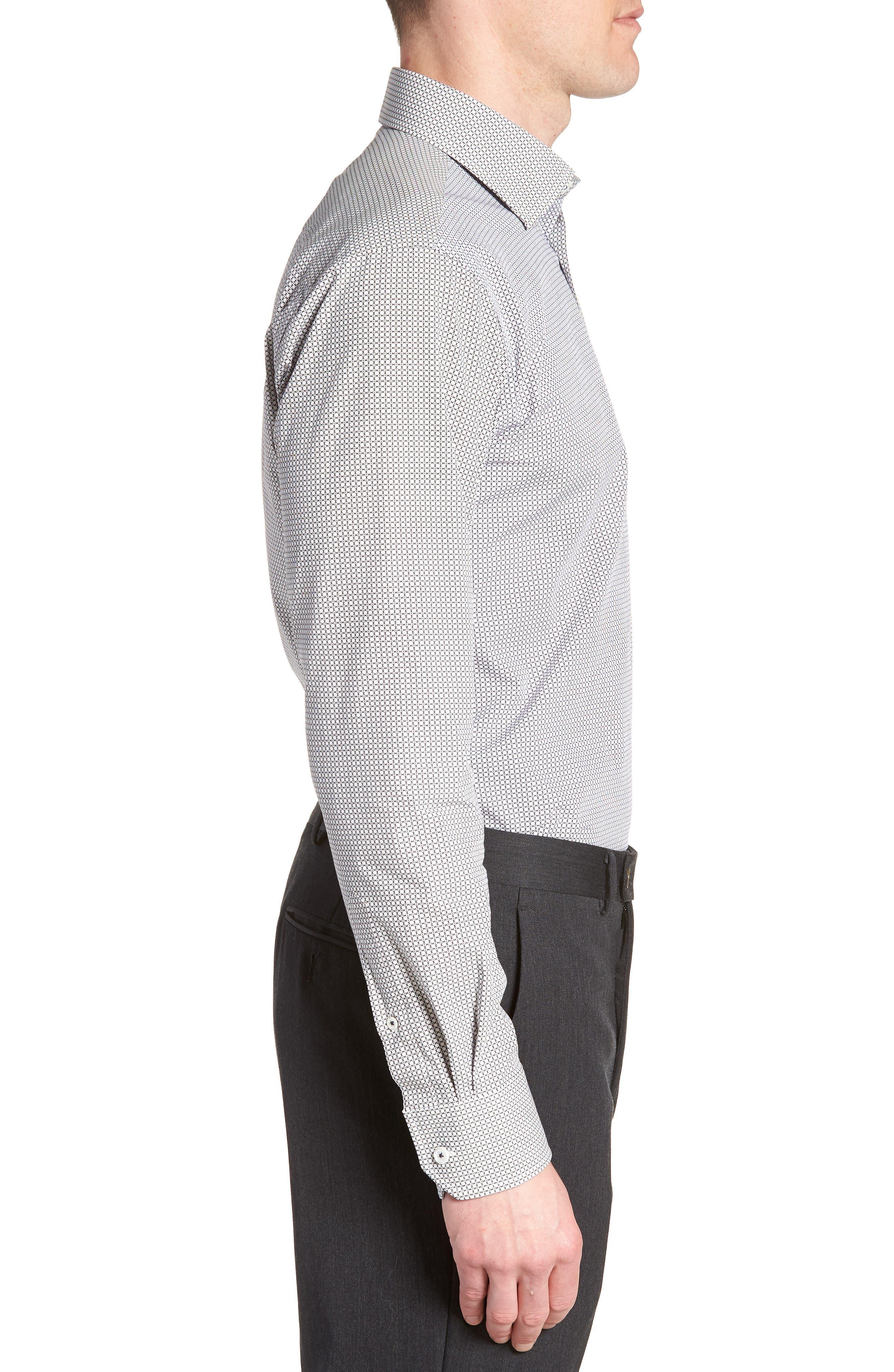 Trim Fit Print Dress Shirt,                             Alternate thumbnail 4, color,                             Platinum