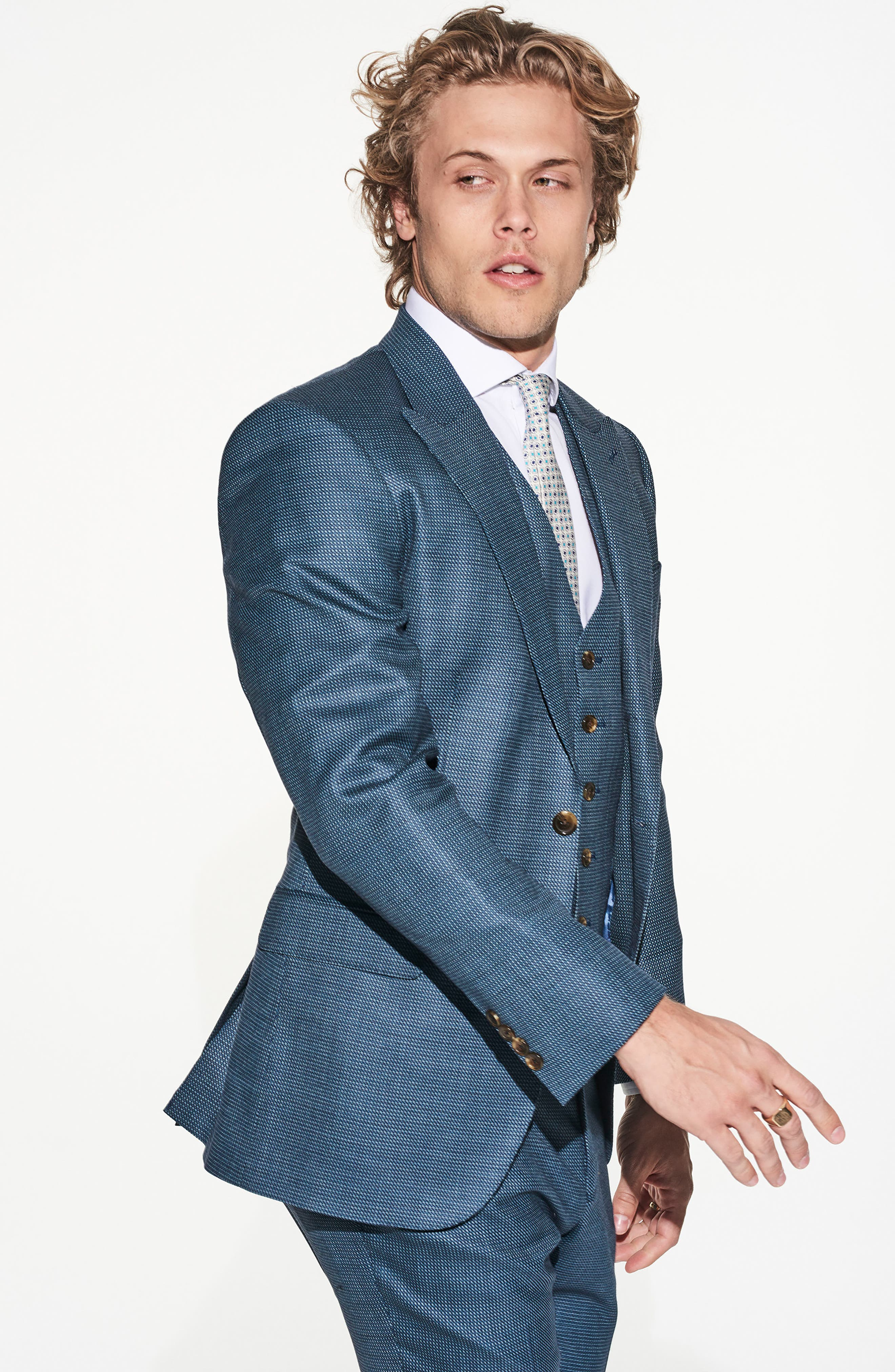 by Ilaria Urbinati Finch Trim Fit Three-Piece Solid Wool Suit,                             Alternate thumbnail 2, color,                             Pacific Blue Dot