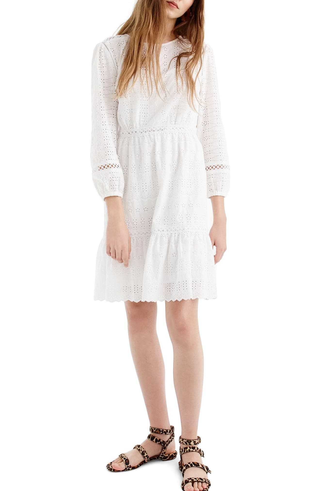 J.Crew Long Sleeve Embroidered Dress,                         Main,                         color, White