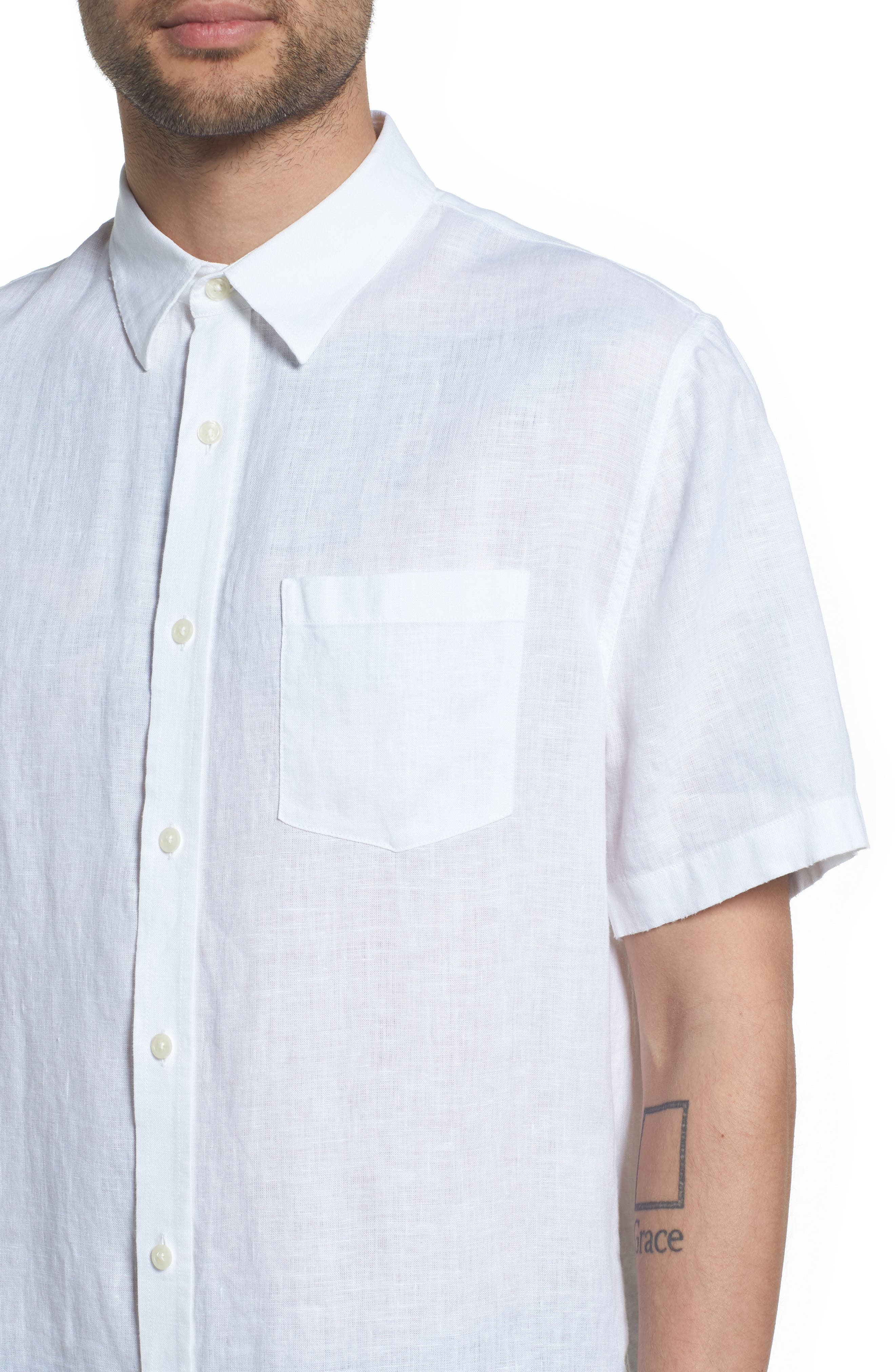 Classic Fit Washed Short Sleeve Sport Shirt,                             Alternate thumbnail 2, color,                             Optic White