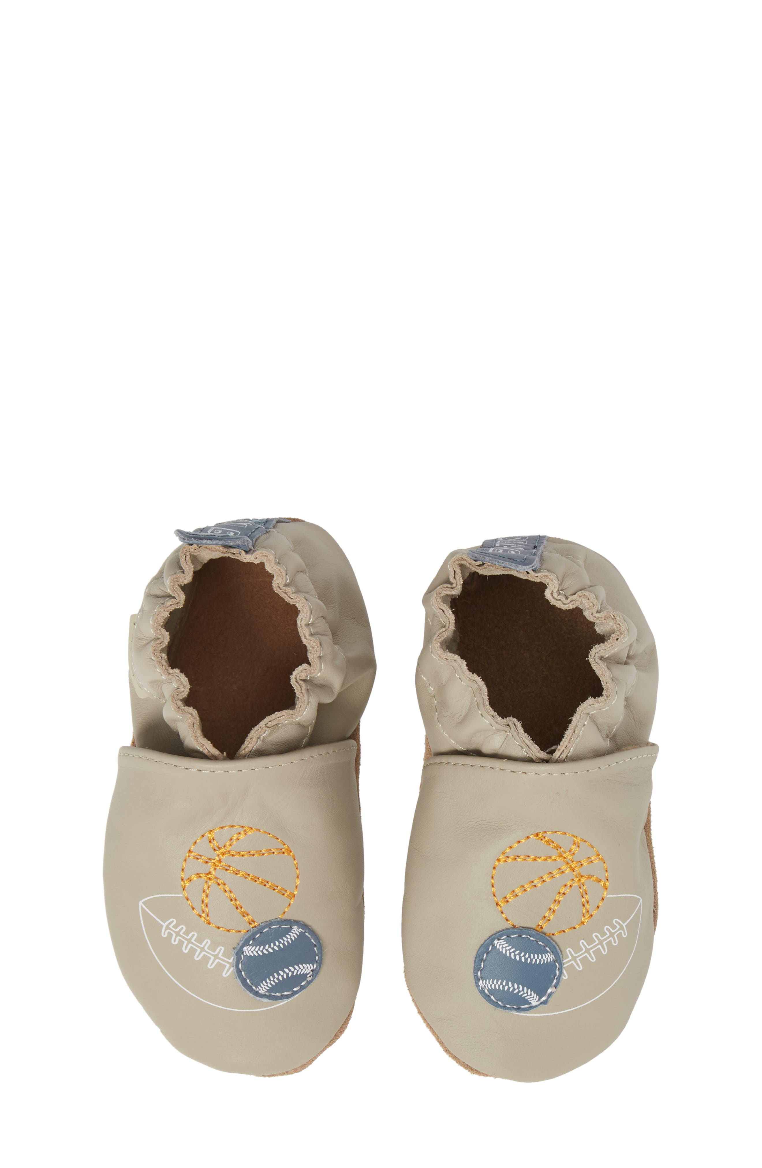 Dream Big Moccasin Crib Shoe,                         Main,                         color, Taupe