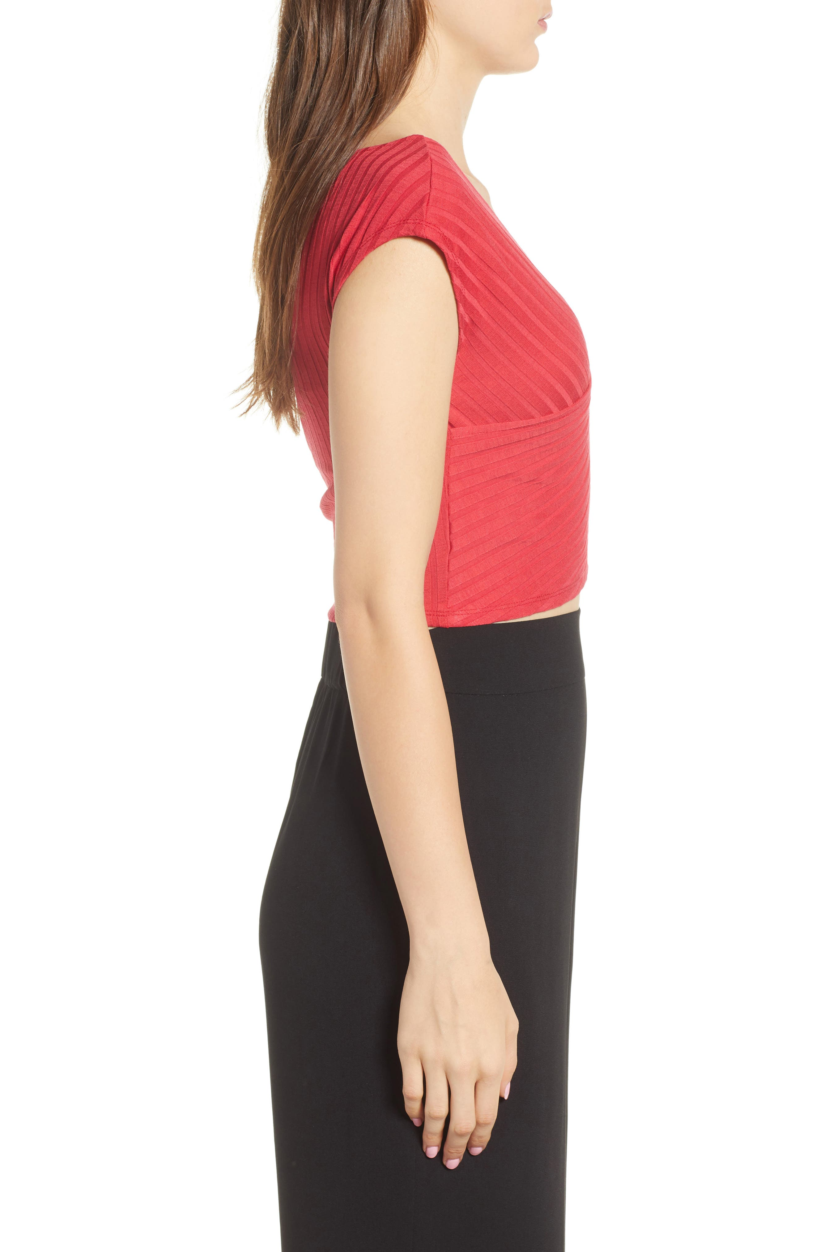 Ribbed Wrap Crop Top,                             Alternate thumbnail 3, color,                             Red