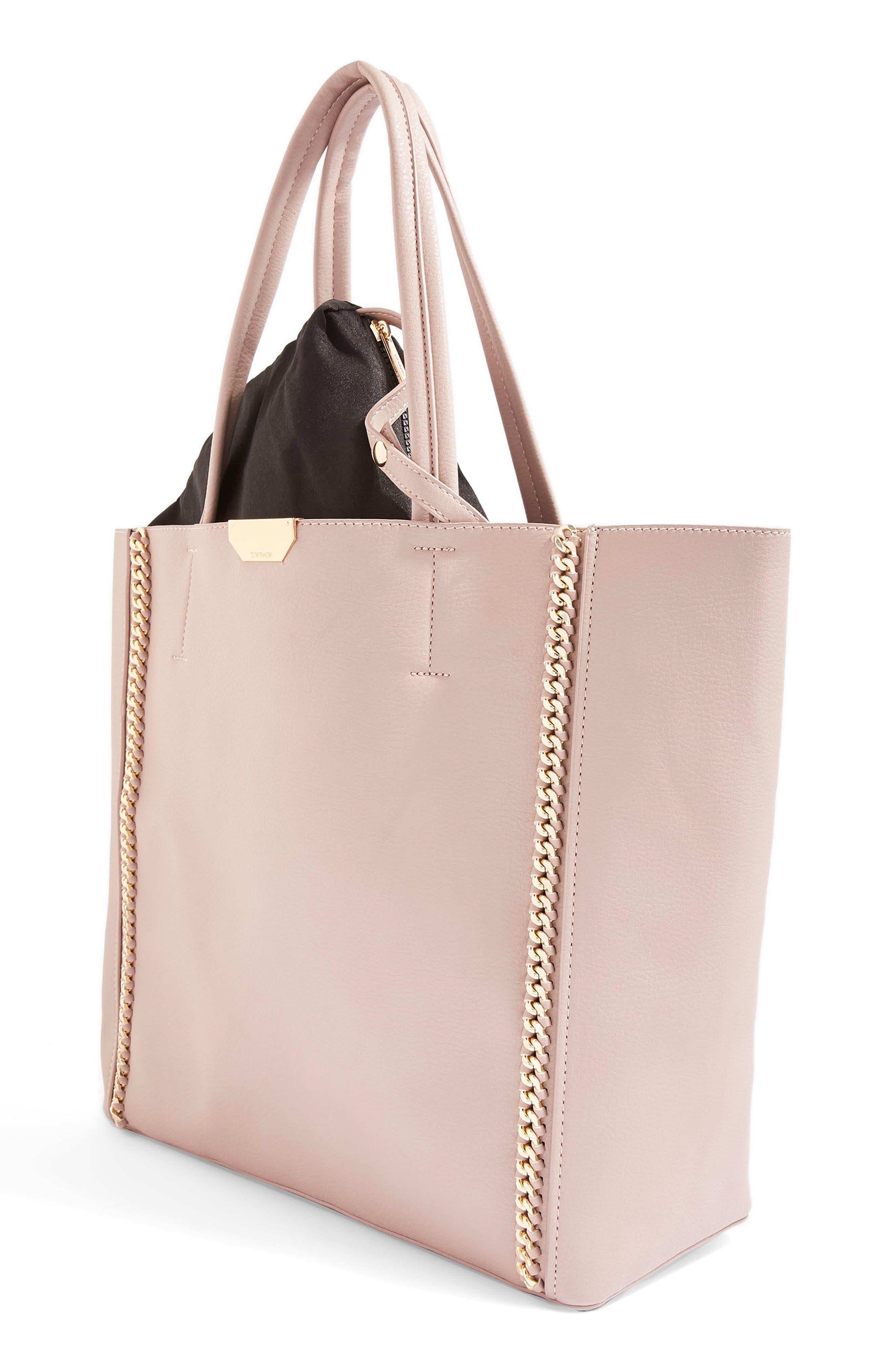 Sade Chain Shopper Bag,                             Alternate thumbnail 4, color,                             Nude Multi