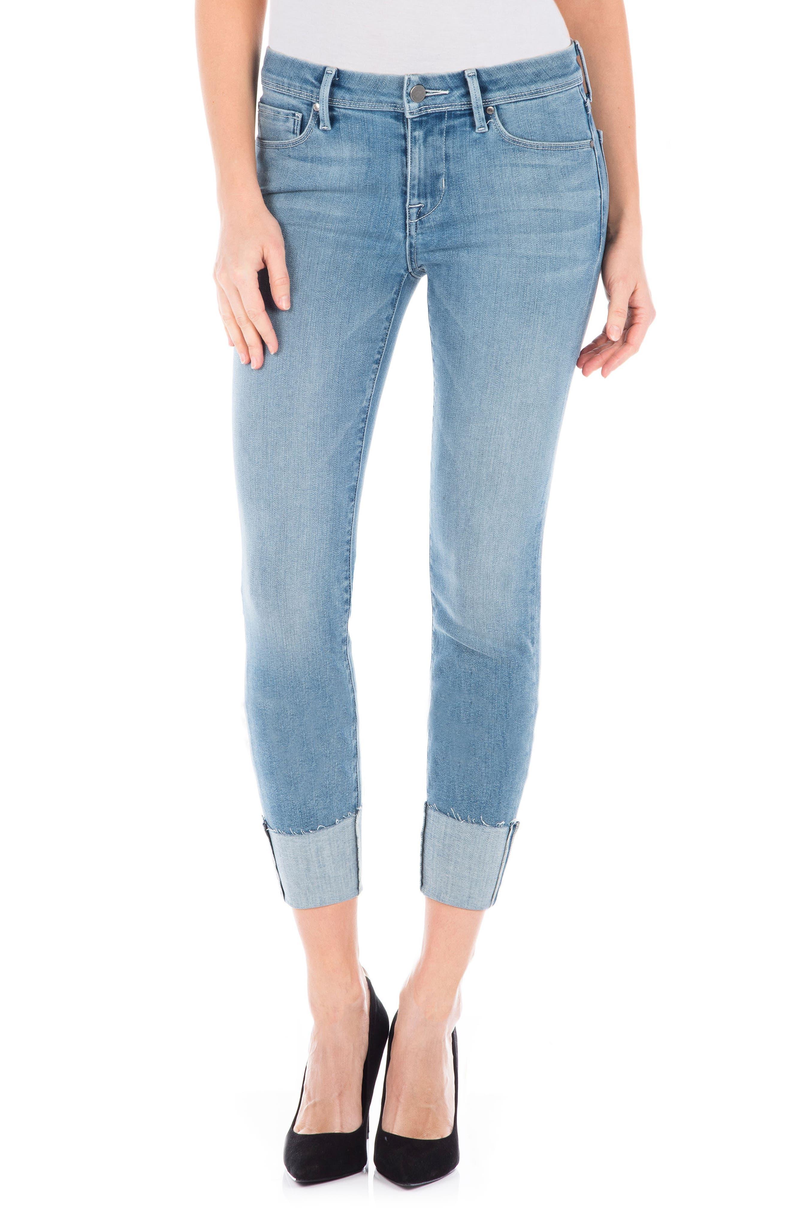Stevie Crop Slim Straight Leg Jeans,                             Main thumbnail 1, color,                             Venice Blue