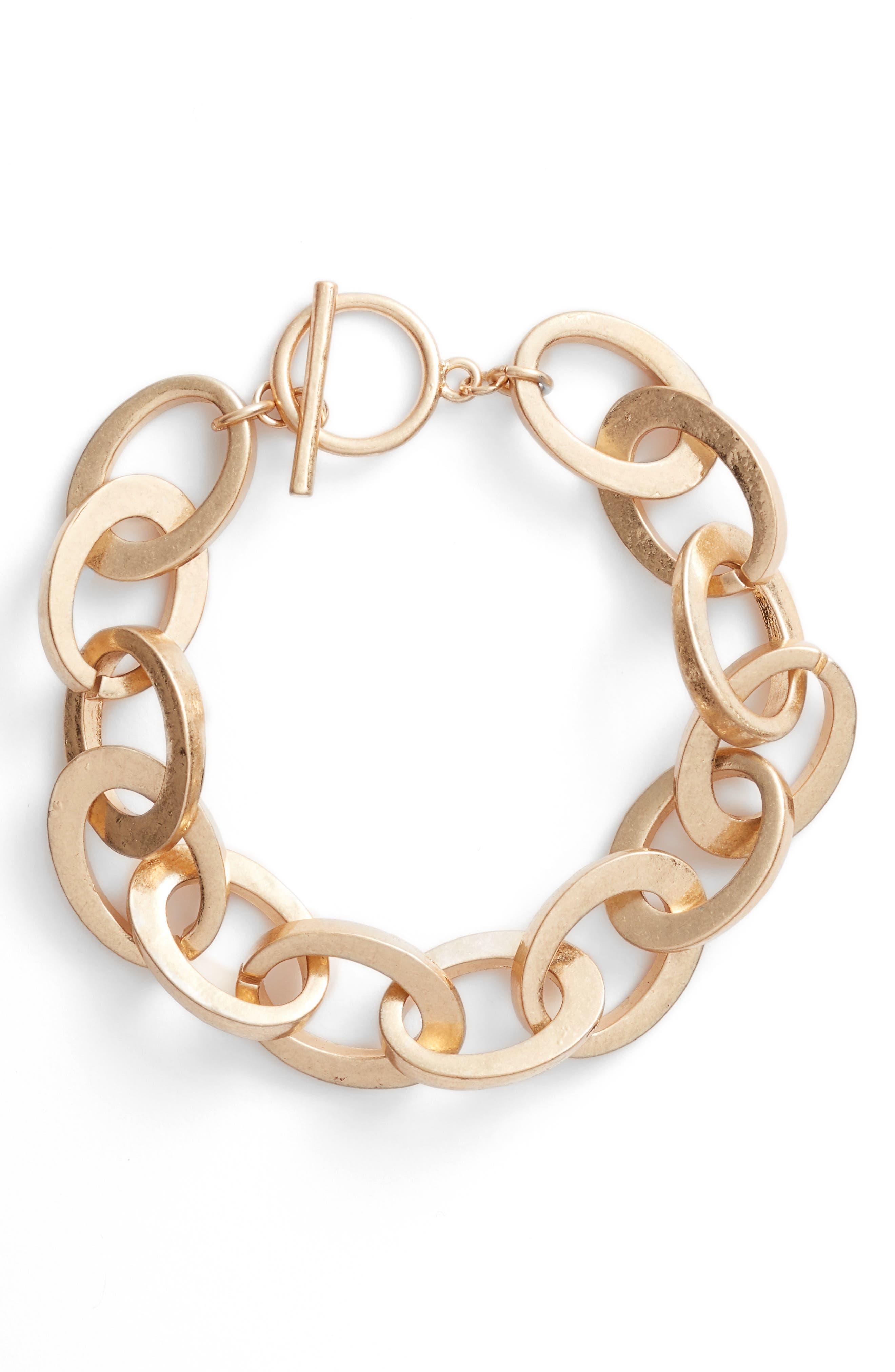 Rolo Bar Ring Bracelet,                         Main,                         color, Gold