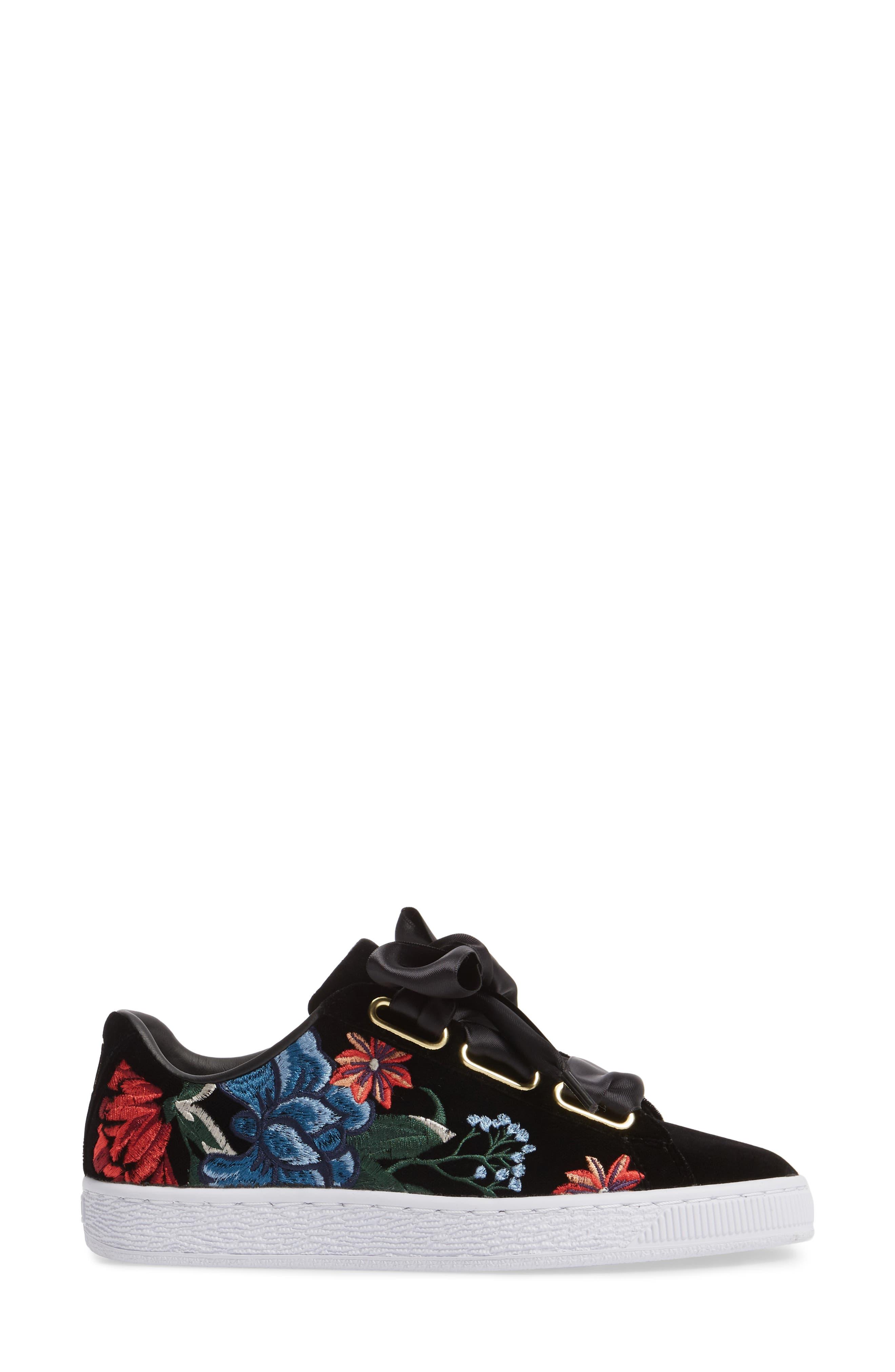 Basket Heart Hyper Embroidered Sneaker,                             Alternate thumbnail 3, color,                             Black