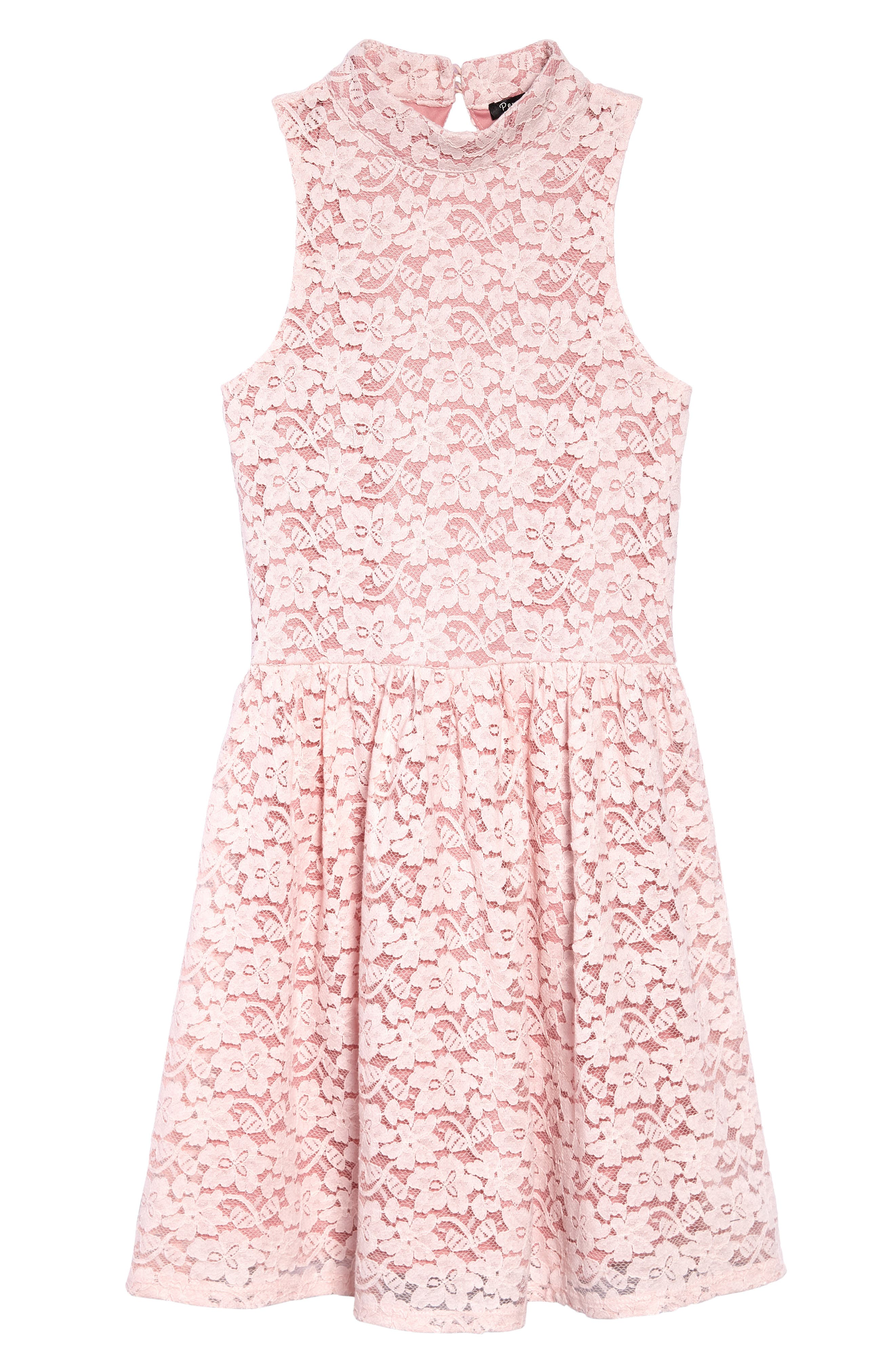 Hailee Lace Dress,                             Main thumbnail 1, color,                             Pink