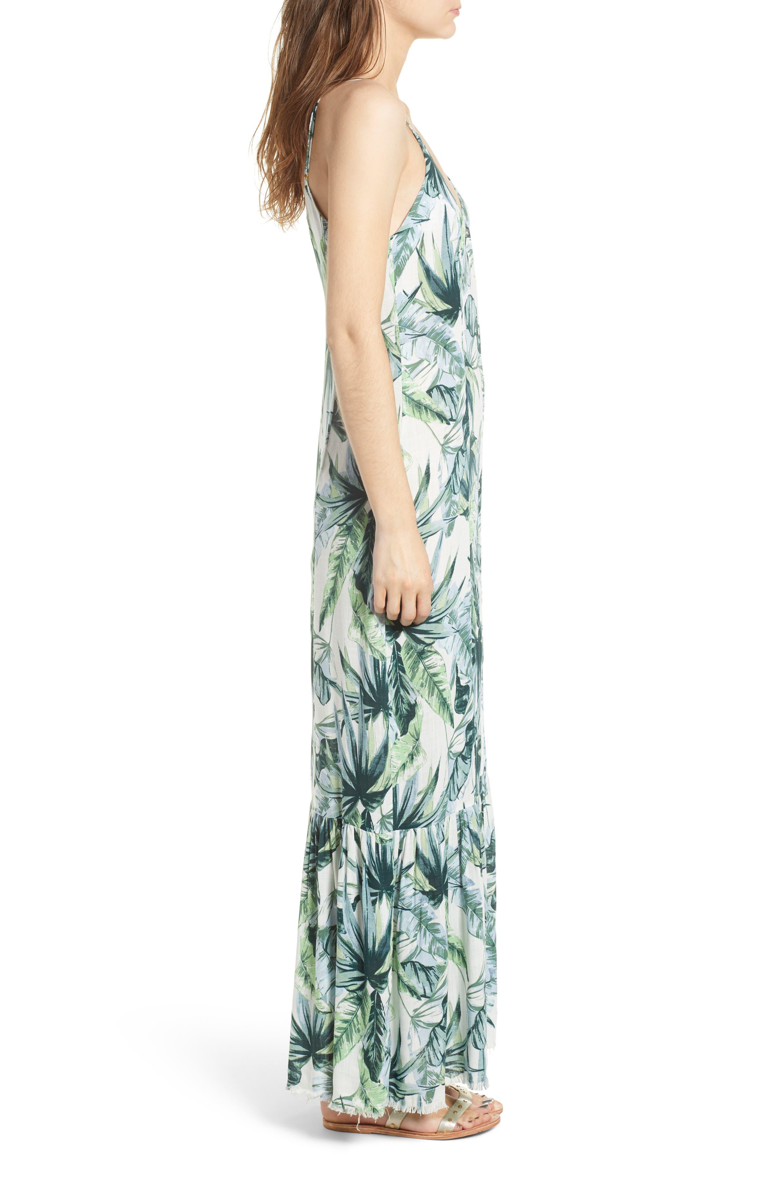 Palm Print Fringe Hem Maxi Dress,                             Alternate thumbnail 4, color,                             Multi